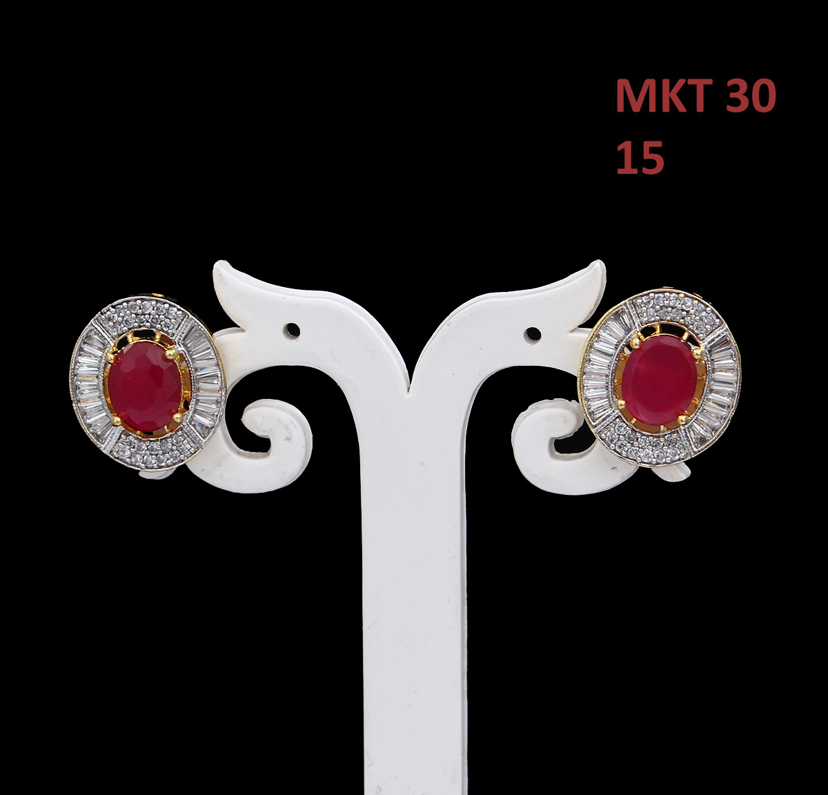 55Carat | 55Carat Ear Tops Gold Plated Red Ruby, Cubic Zircon Rich Designer Fashion Jewellery Tops Ear Tops,Gold Plated,Red Ruby, Cubic Zircon,Rich Designer Fashion Jewellery Tops MKT-30-RED