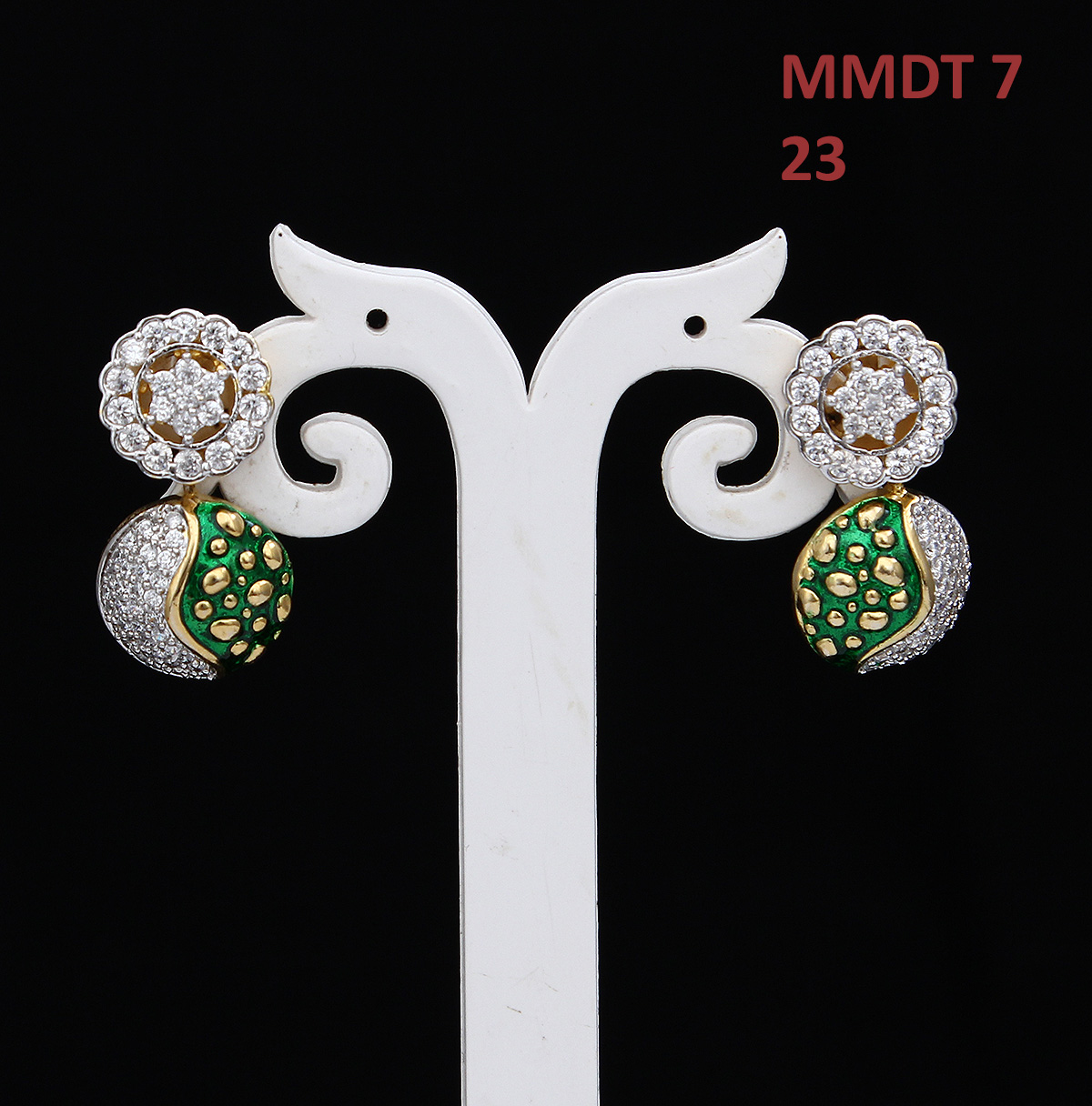 55Carat | 55Carat Drop Earrings Gold Plated Cubic Zircon Green Enamel Latest Fancy Design Earrings Tops Drop Earrings,Gold Plated, Cubic Zircon,Green Enamel Latest Fancy Design Earrings Tops MMDT-7-GREEN