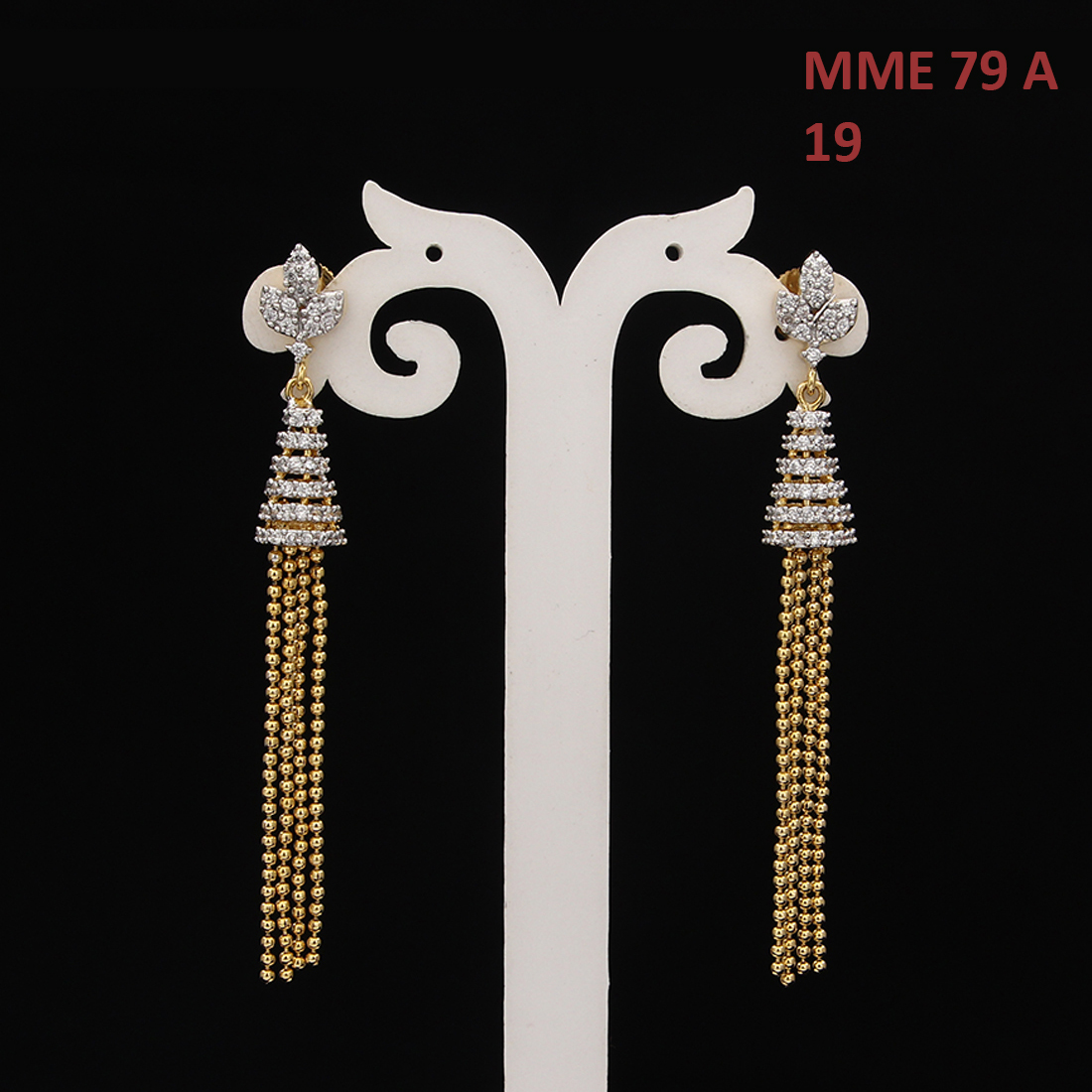 55Carat | Handmade Teardrop Earrings For Women Girls Ladies Cubic Zircon Gold Plated Baali Kundal Jewellery Fashion Jewellery MME 79 A