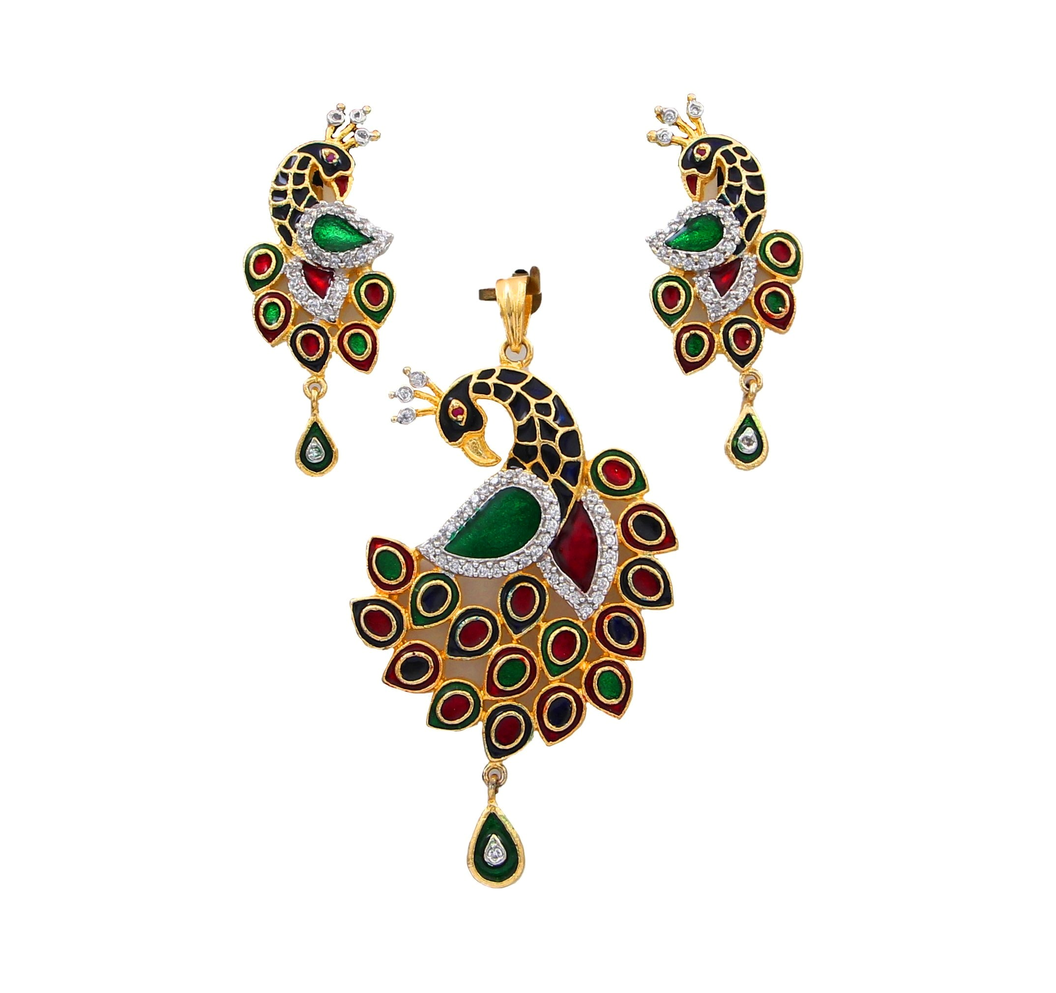 55Carat   Peacock Pendant with Drop Earring For Women Girls Ladies Multicolor CZ Beautiful Design locket Gold Plated Multipurpose Jewellery for Womens