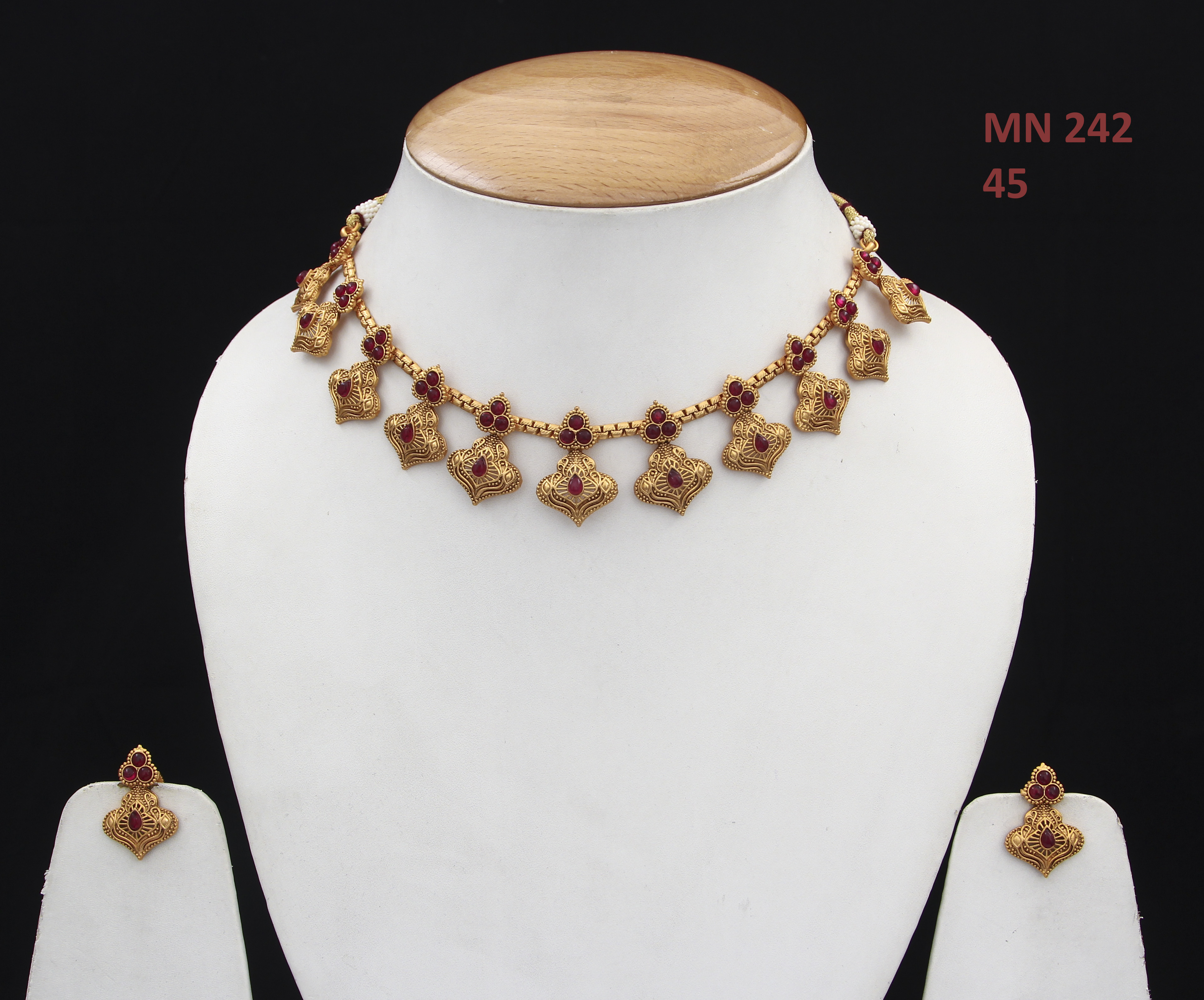 55Carat   55Carat Beautiful Choker Necklace Set with Earrings Gold Plated Ruby Embellished Traditional Women Wedding Jewellery for Women and Girls