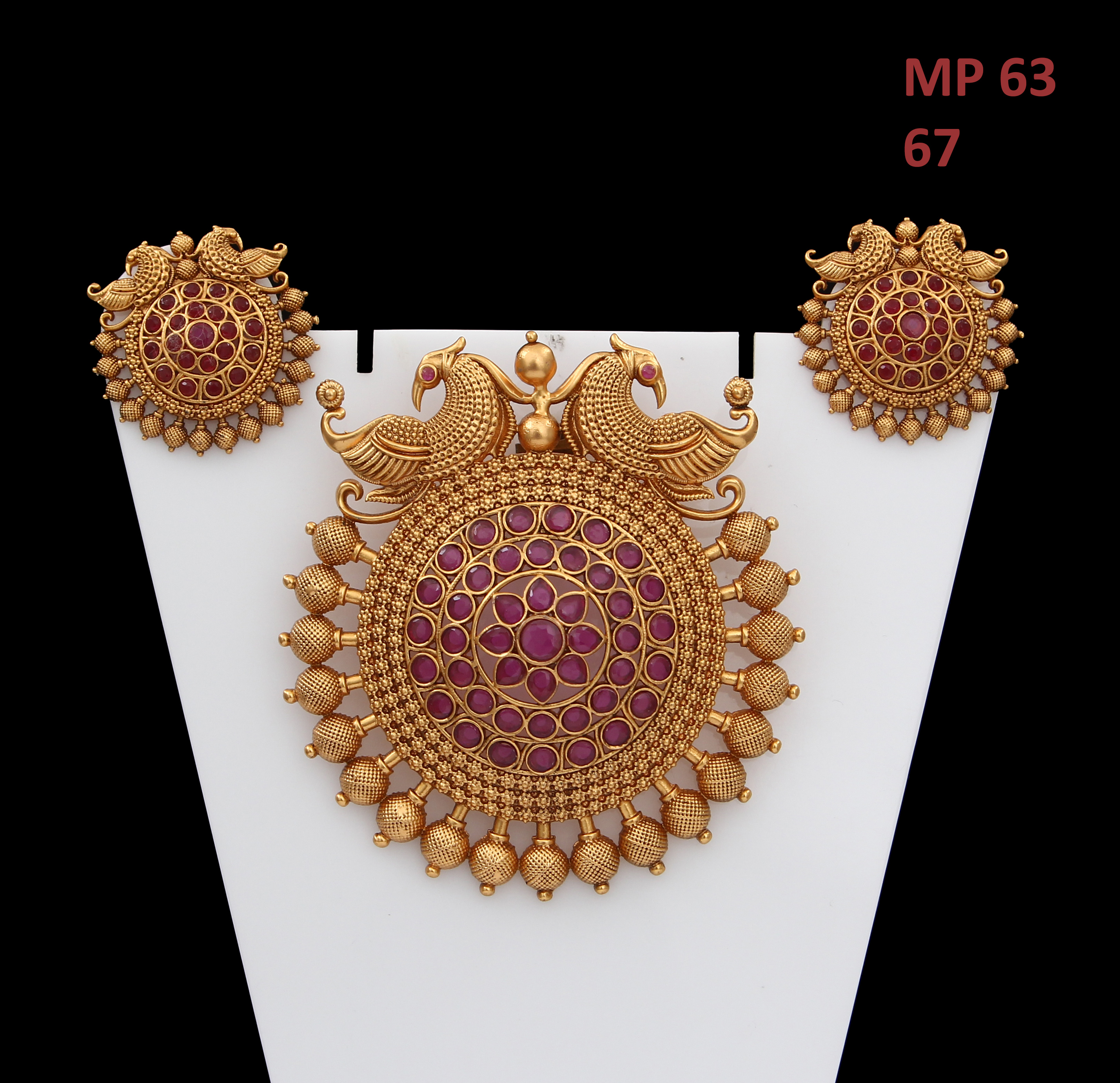 55Carat   55Carat Bollywood Style Pendant Earrings Set Red Crystal Yellow Gold Plated Latest Stylish Fancy Fashion Jewellery for Girlfriend Wife Love