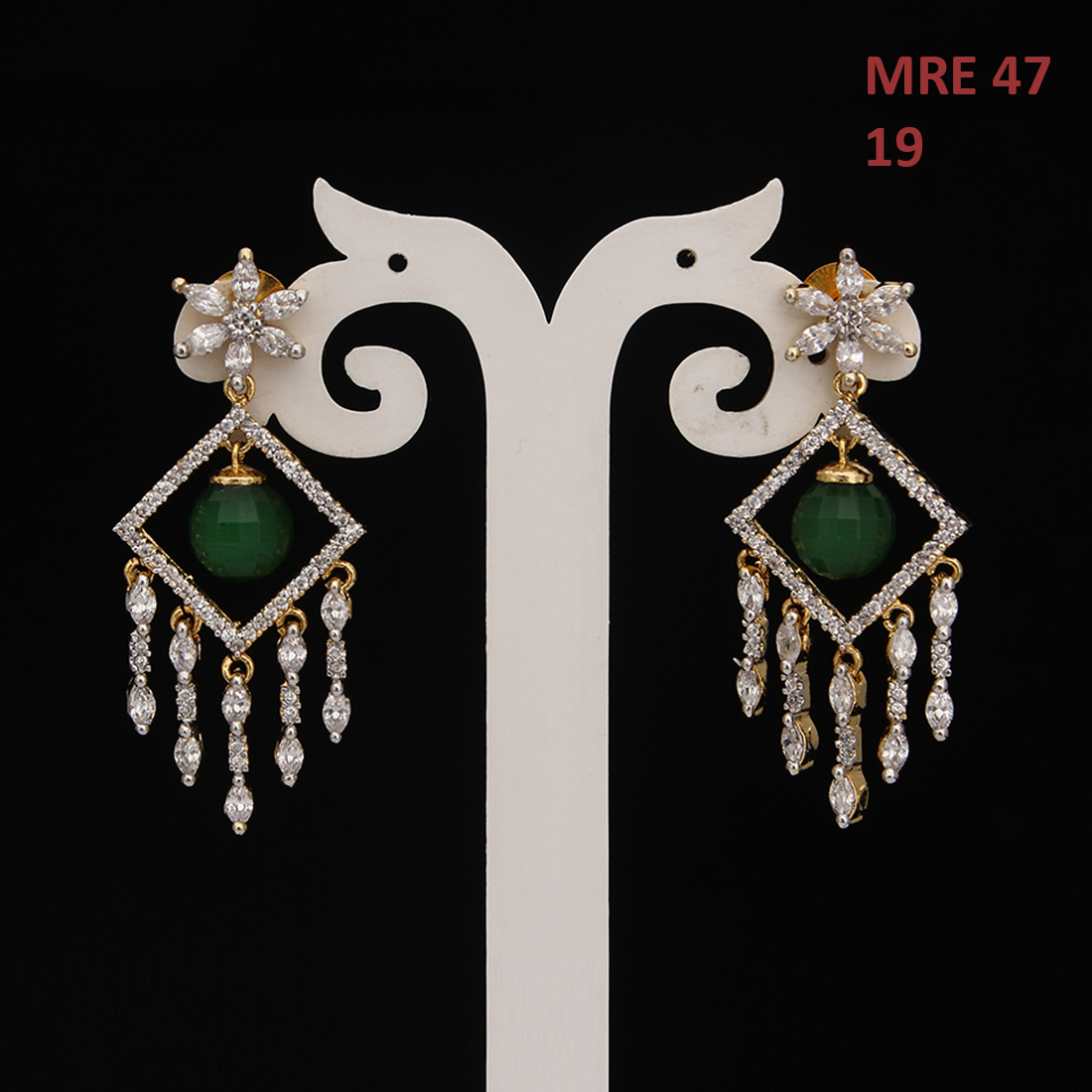 55Carat | Indian Handmade Teardrop Earrings For Women Girls Ladies Cubic Zircon Gold Plated Baali Kundal Jewellery Designer Jewellery MRE 47
