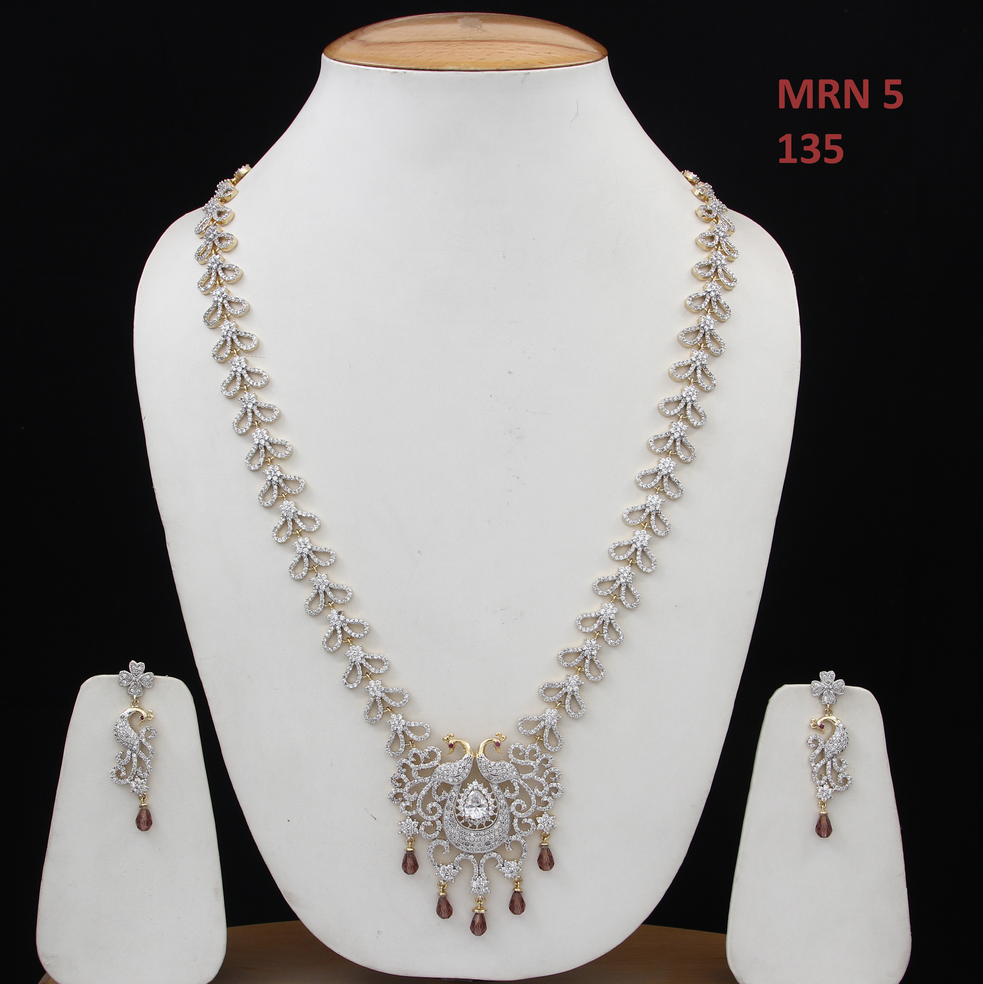 55Carat | 55Carat Maharani Fashion Necklace with Drop Earring Girls Ladies Wine CZ Unique Design Chokar Jewellery Set Gold Plated Silver Plated Chain Haar Handmade Jewellery for Women and Girls MRN 5-WINE