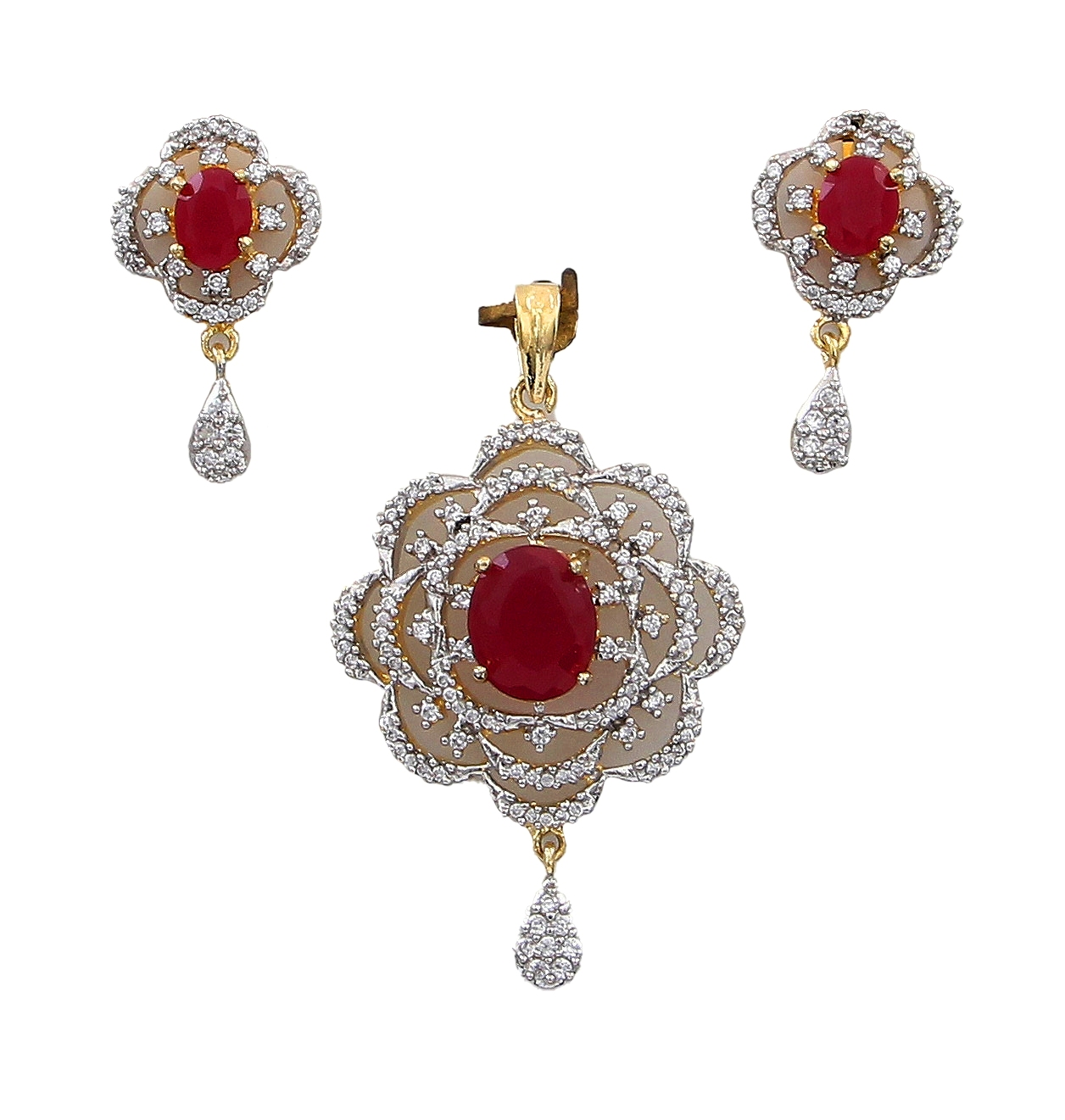 55Carat | Pendant with Drop Earring For Women Girls Ladies Red Onyx Latest Design locket 18K Gold Plated Multipurpose Accessories for Gift