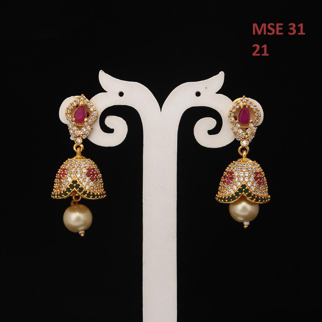 55Carat | Unique Stud Drops Earrings For Women Girls Ladies Cubic Zircon Gold Plated Baali Kundal Jewellery Fashion Jewellery MSE 31