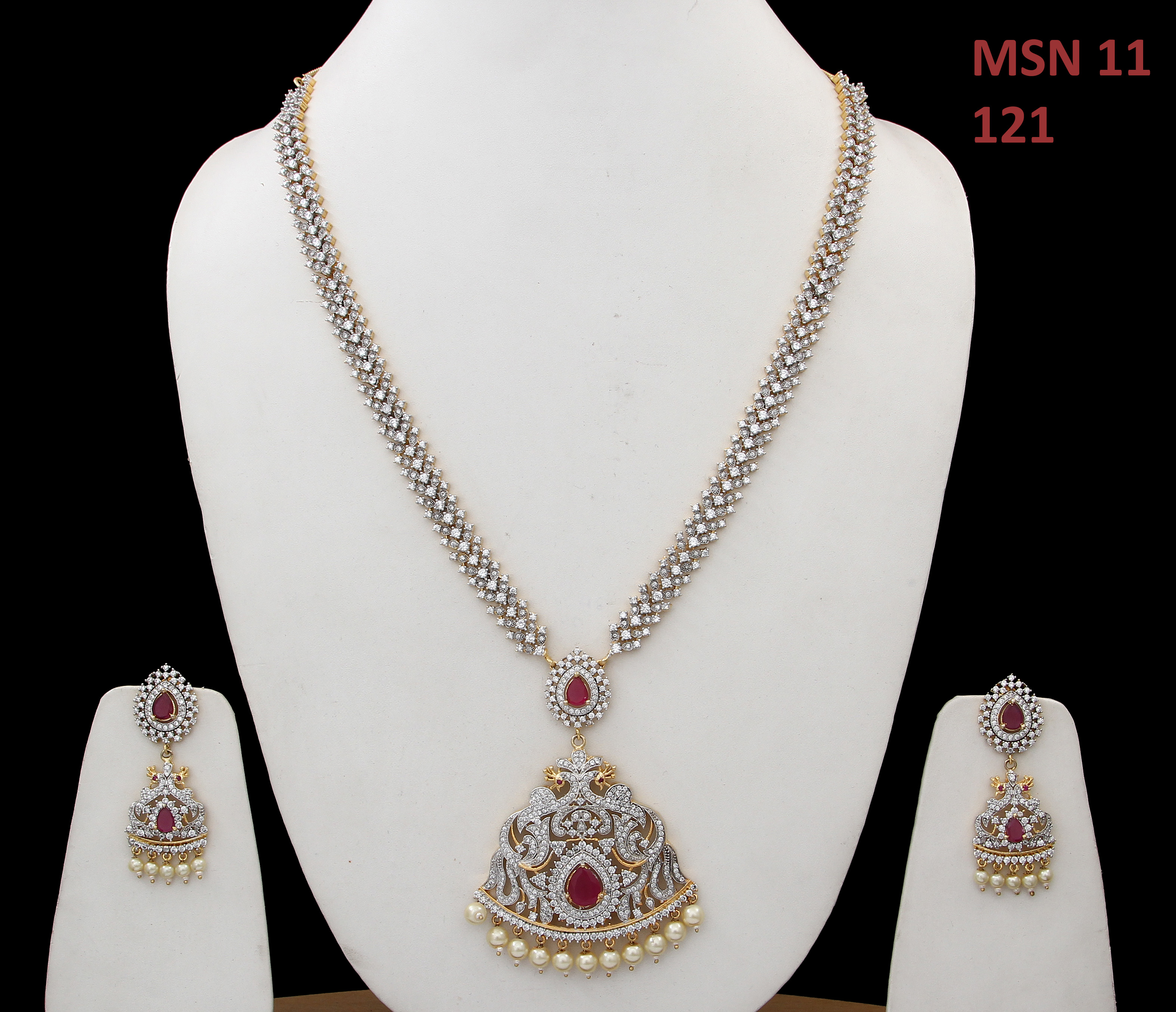 55Carat   55Carat Maharani Fashion Necklace with drop Earring For Women Girls Ladies Red Onyx Indian Traditional Chokar Set Gold Plated Silver Plated Chain Haar Jewellery for Womens MSN 11-RED