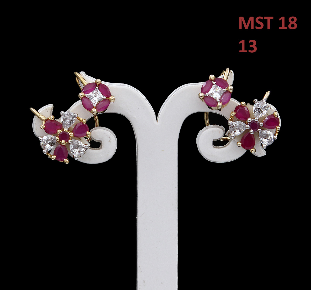 55Carat | 55Carat Designer Ear Cuffs Pink Ruby CZ 14K Gold Plated Floral Shaped Gorgeous Looking Earrings Latest Trending Accessory for Girls and Women