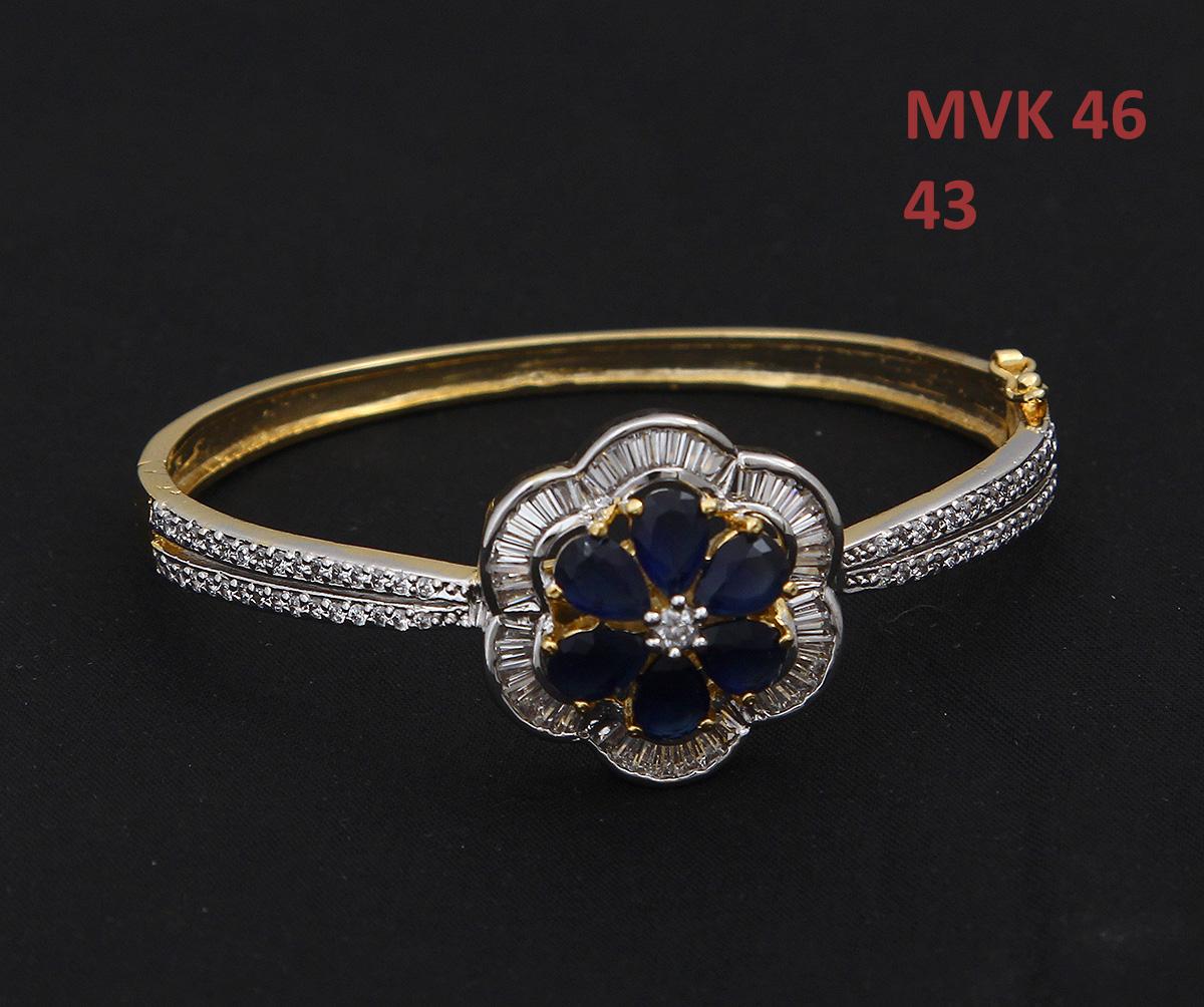 55Carat | 55Carat Beautiful Attractive Bangle Bracelet Blue Sapphire Neelam Diamond CZ 18K Gold Plated Hand Jewellery Chudi Stylish New Fashion Twist & Shine Traditional s for Women Girls