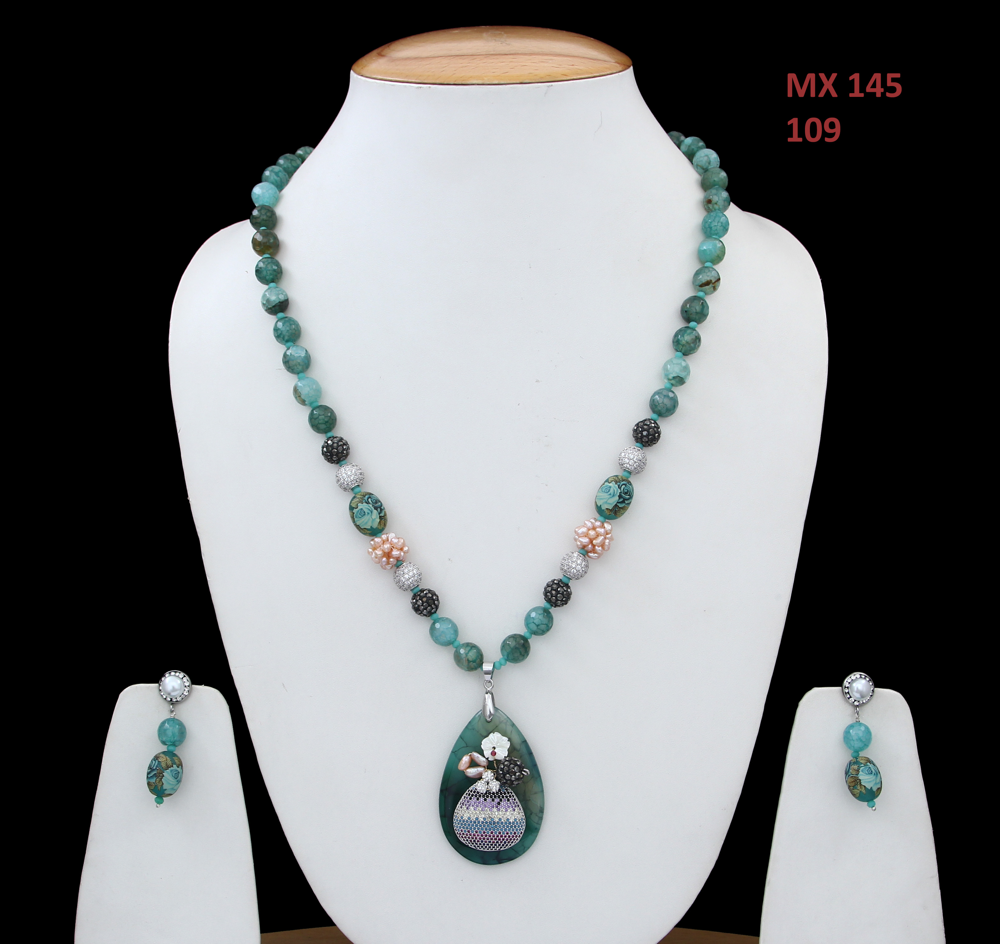 55Carat | 55Carat Latest Design Beads Made Single Strand Chain Necklace Pendant with Drop Earrings Set Sea Green Jasper Haar Chain Mala Jewellery Set for Mother, Sister and Wife