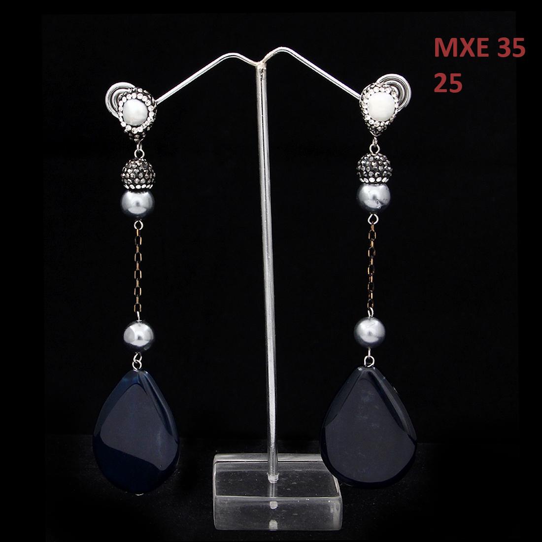 55Carat | 55Carat Fashion Long Tassle Drop Earrings Oxidized Silver Cubic Zircon, Pearl, Jasper Blue Exclusive Latest Designer Collection Dangling Earrings Jewellery for Women and Girls