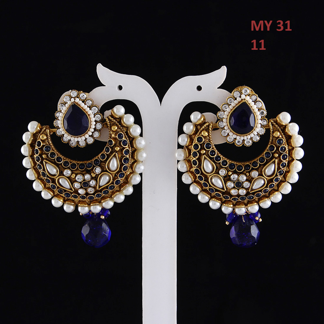 55Carat | Jhumki Earrings Gold Plated White CZ, Pearl White CZ, Pearl Fashion Statement Jhumki Earrings Gold Plated White CZ, Pearl for Girls and Women Fashion Statement