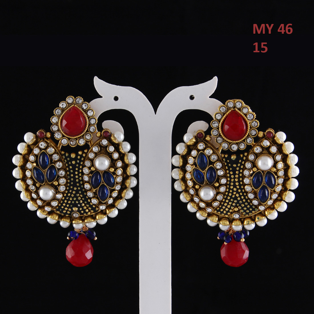 55Carat | Dangling Drop Earrings Gold Plated Red Ruby, Emerald Red Ruby, Emerald Stylish Dangling Drop Earrings Gold Plated Red Ruby, Emerald for Girlfriend Wife Stylish