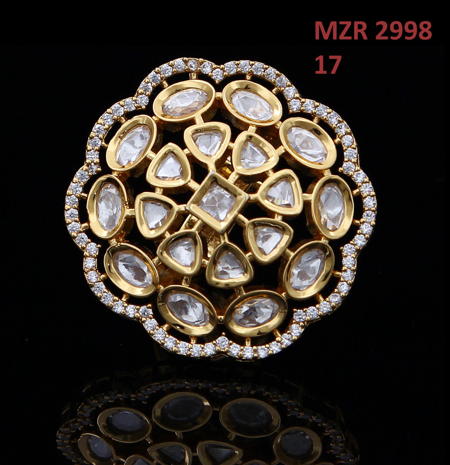 55Carat | 55Carat Ethnic Polki Ring 18K Gold Plated Kundan, Cubic Zircon Floral Adjustable Designer Fashion Jewellery for Women and Girls