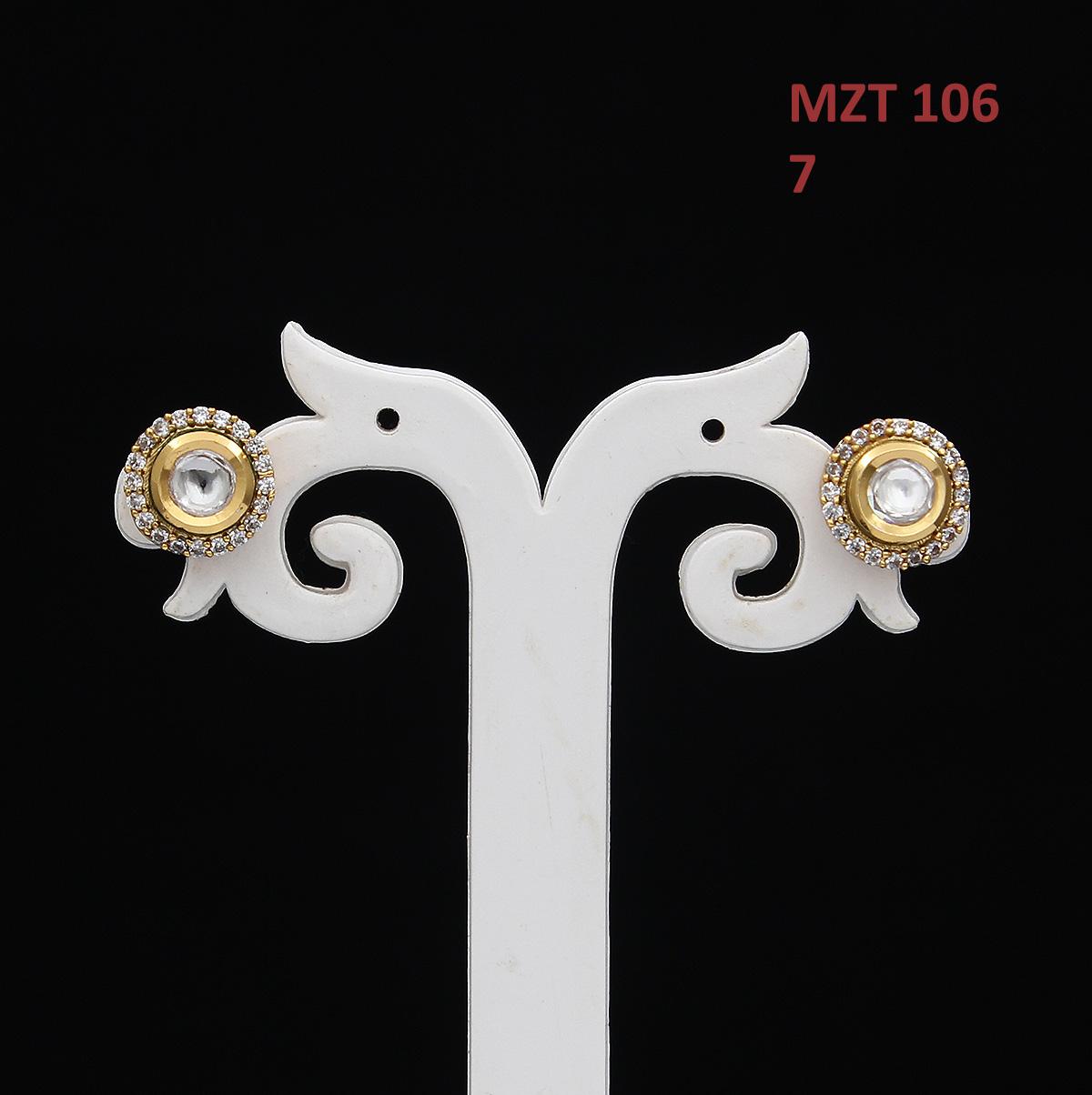 55Carat   55Carat Trendy Stud Earrings 14K Gold Plated Round Shape Cubic Zircon Kundan Ear Tops Elegant Designer Jewellery for Girlfriend Wife