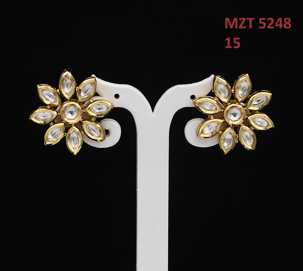 55Carat | 55Carat Traditional Stud Earrings Gold Plated Marquise Round Kundan Stone Studded Flower Designer Collection Tops for Women and Girls