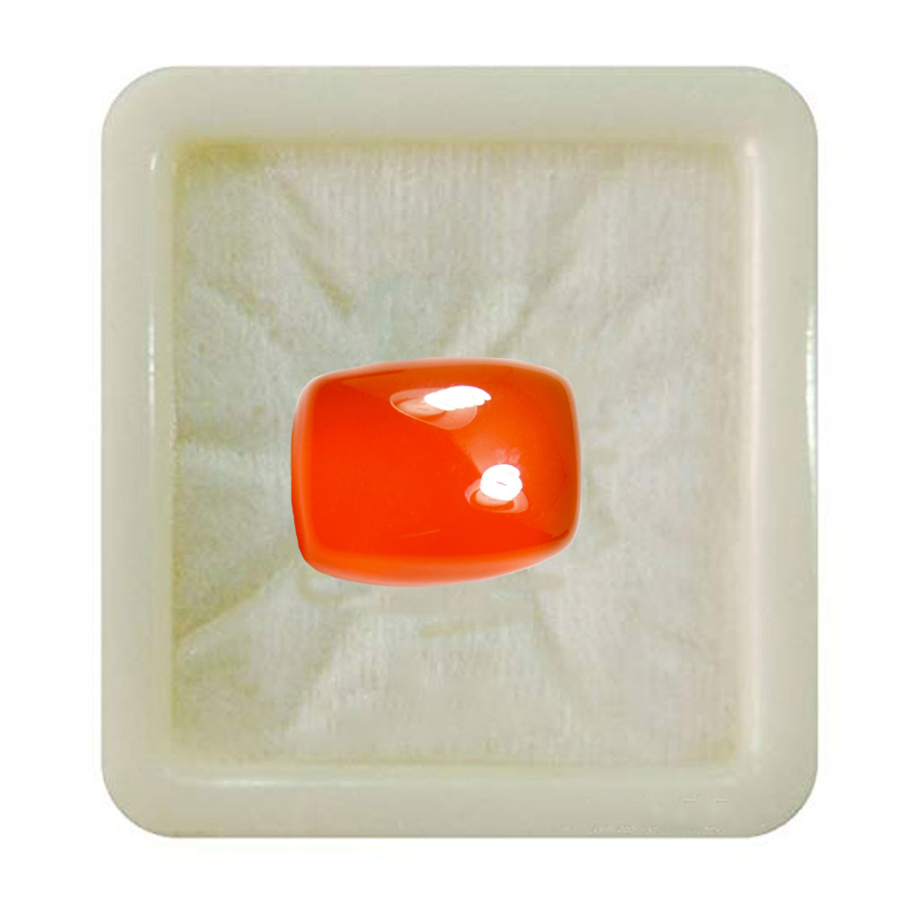55Carat   Natural Certified Red Onyx Loose Stone 6.25 Ratti 5.68 Carat Cushion Rectangle Shape Birthstone