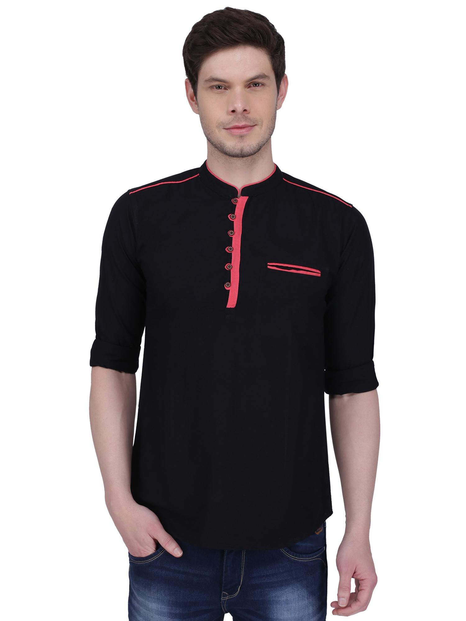 Kuons Avenue | Kuons Avenue Men's Black Linen Cotton Short Kurta- KACLFS1161BK