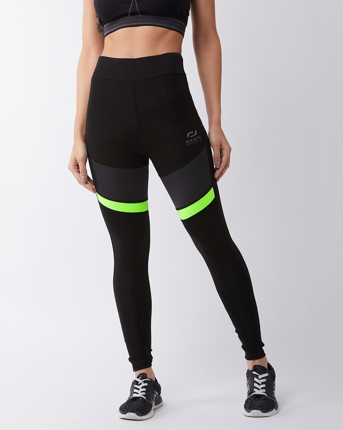 Masch Sports   Masch Sports Women's Black Solid Sports Tights with Dual Colour Grey and Fluorescent Neon Thigh Panel