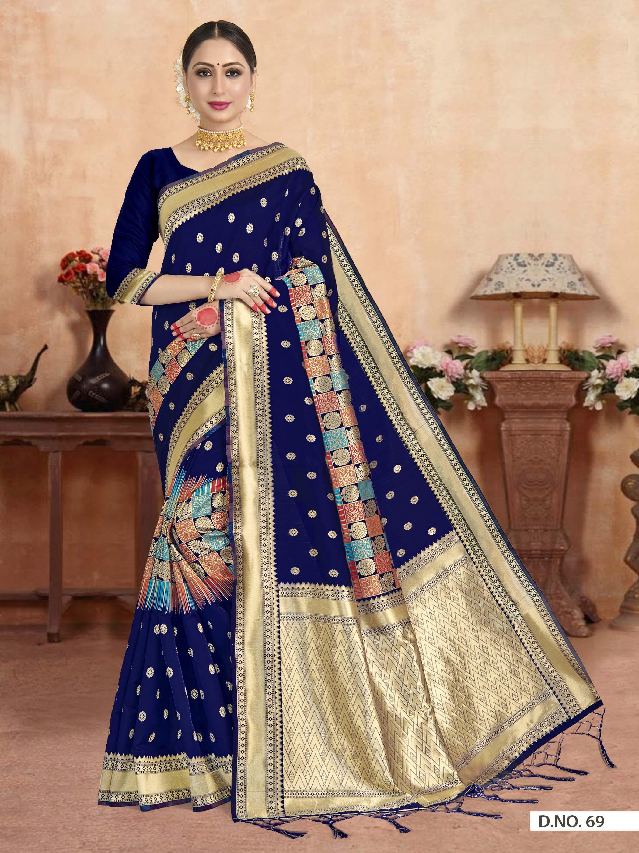 POONAM TEXTILE | Banarasi Self Design Blue Art Silk Woven Saree