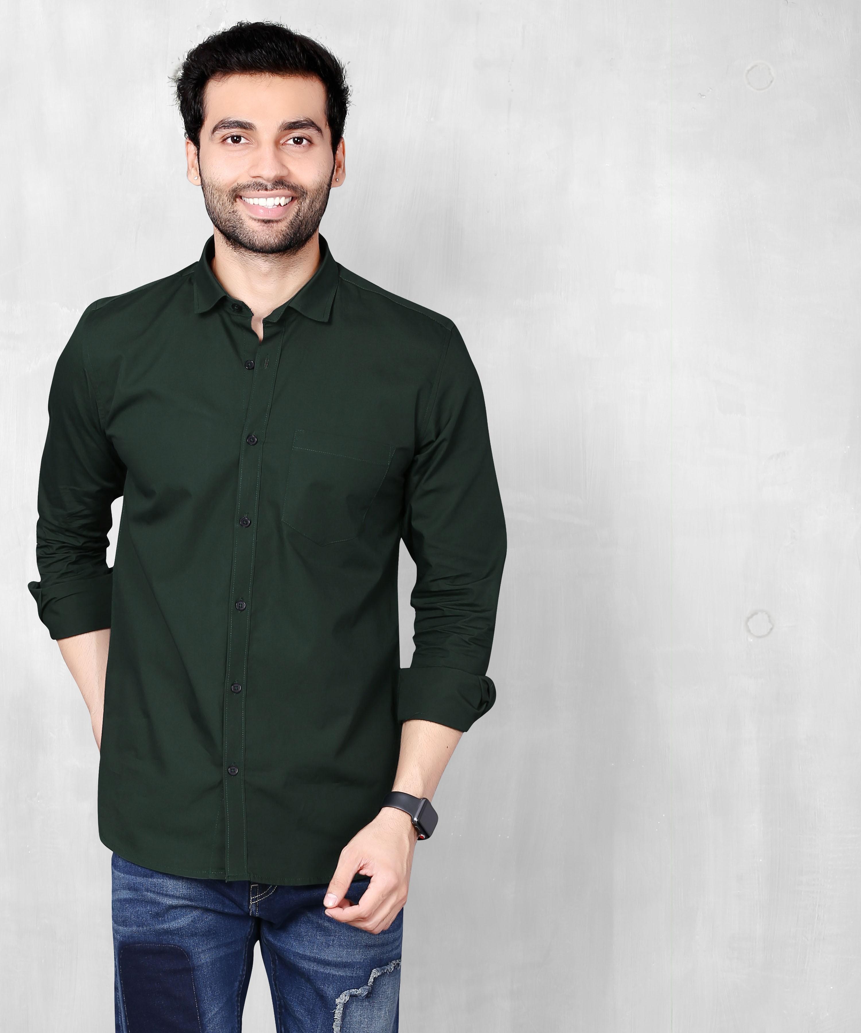 FIFTH ANFOLD Men's Bottle Green Casual Slim Collar Full/Long Sleev Slim Fit Shirt