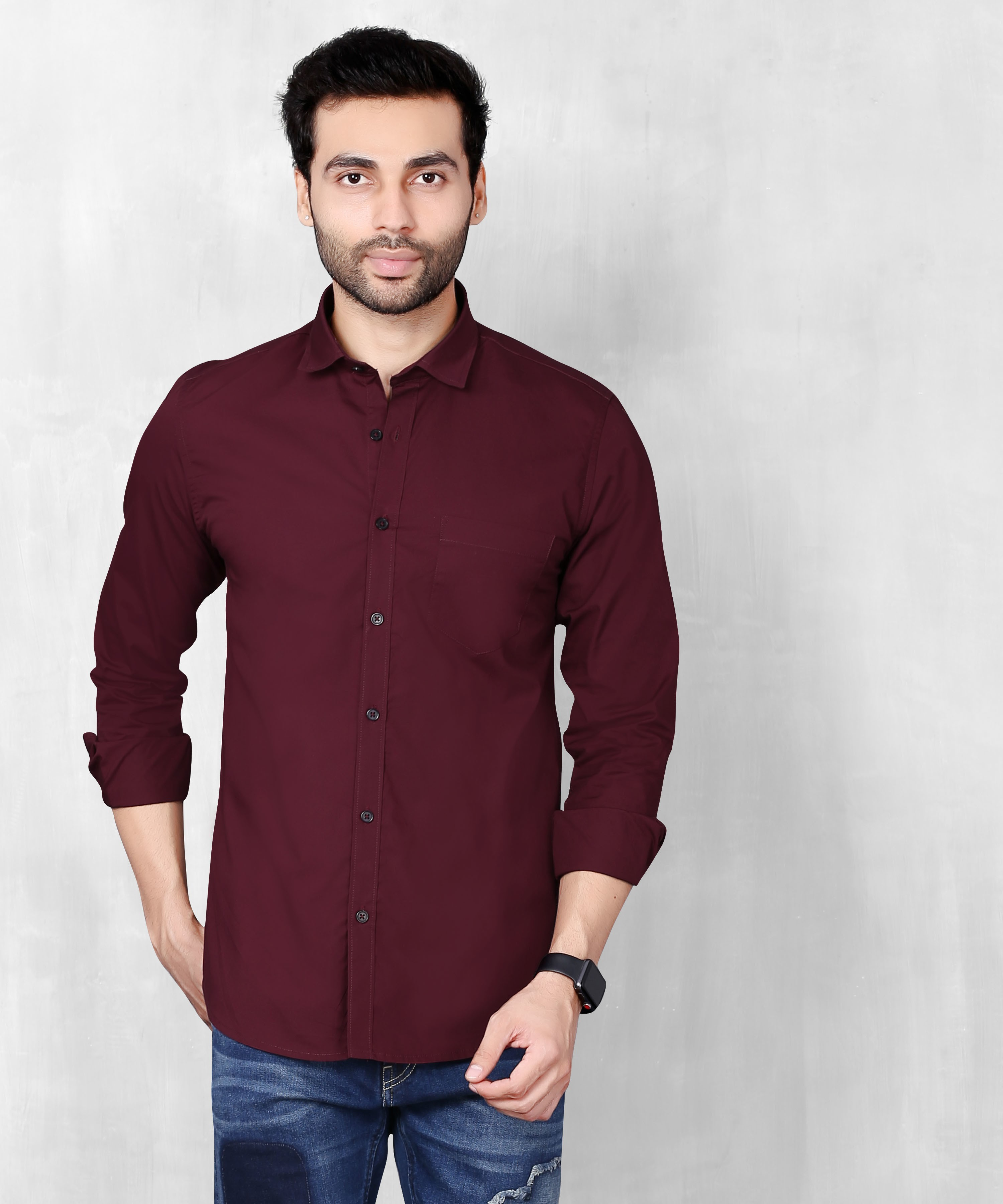 5th Anfold | FIFTH ANFOLD Men's Maroon Casual Slim Collar Full/Long Sleev Slim Fit Shirt