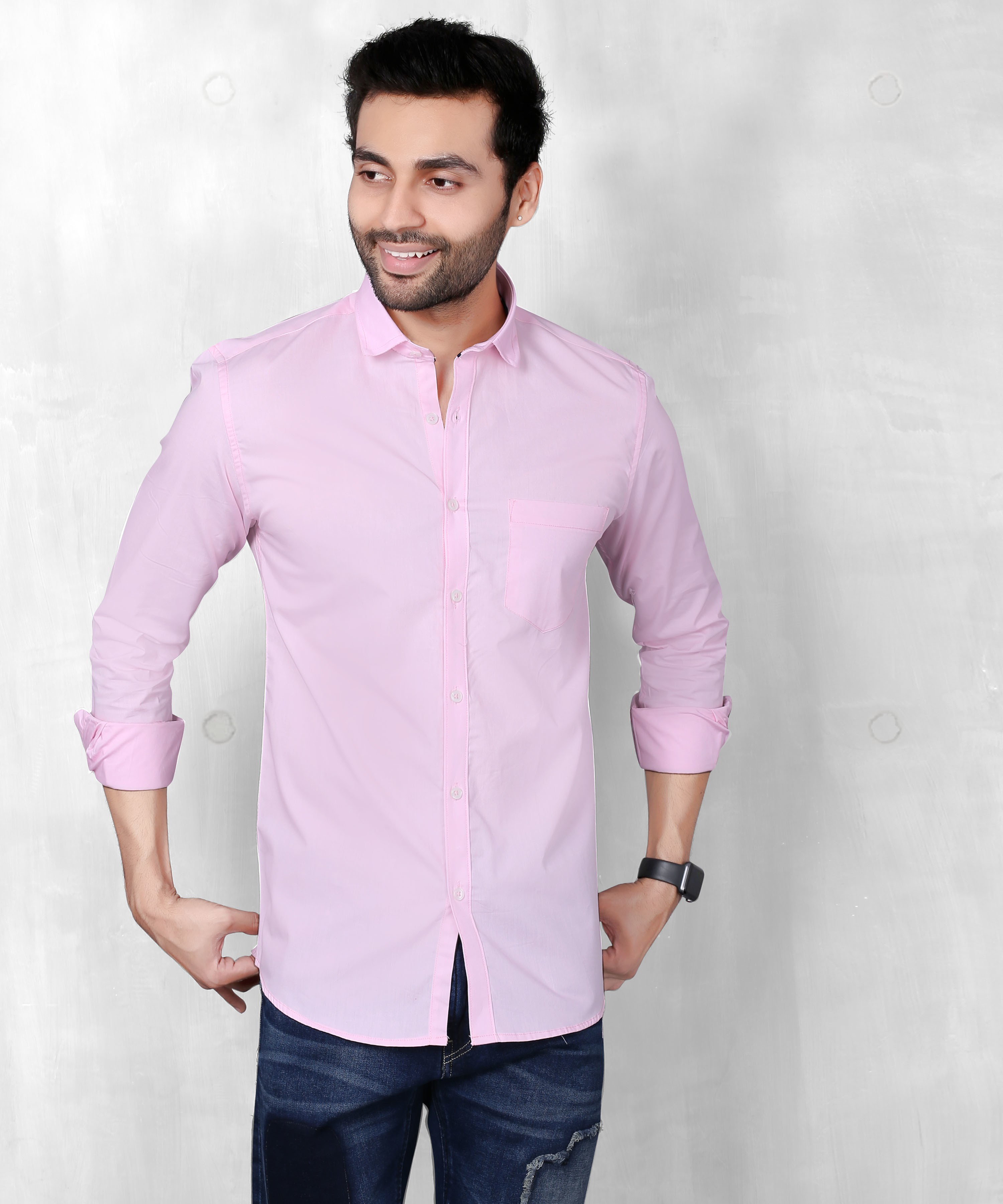 FIFTH ANFOLD Solid Pure Cotton Casual Full Long Sleev Pink Slim Collar Mens Shirt
