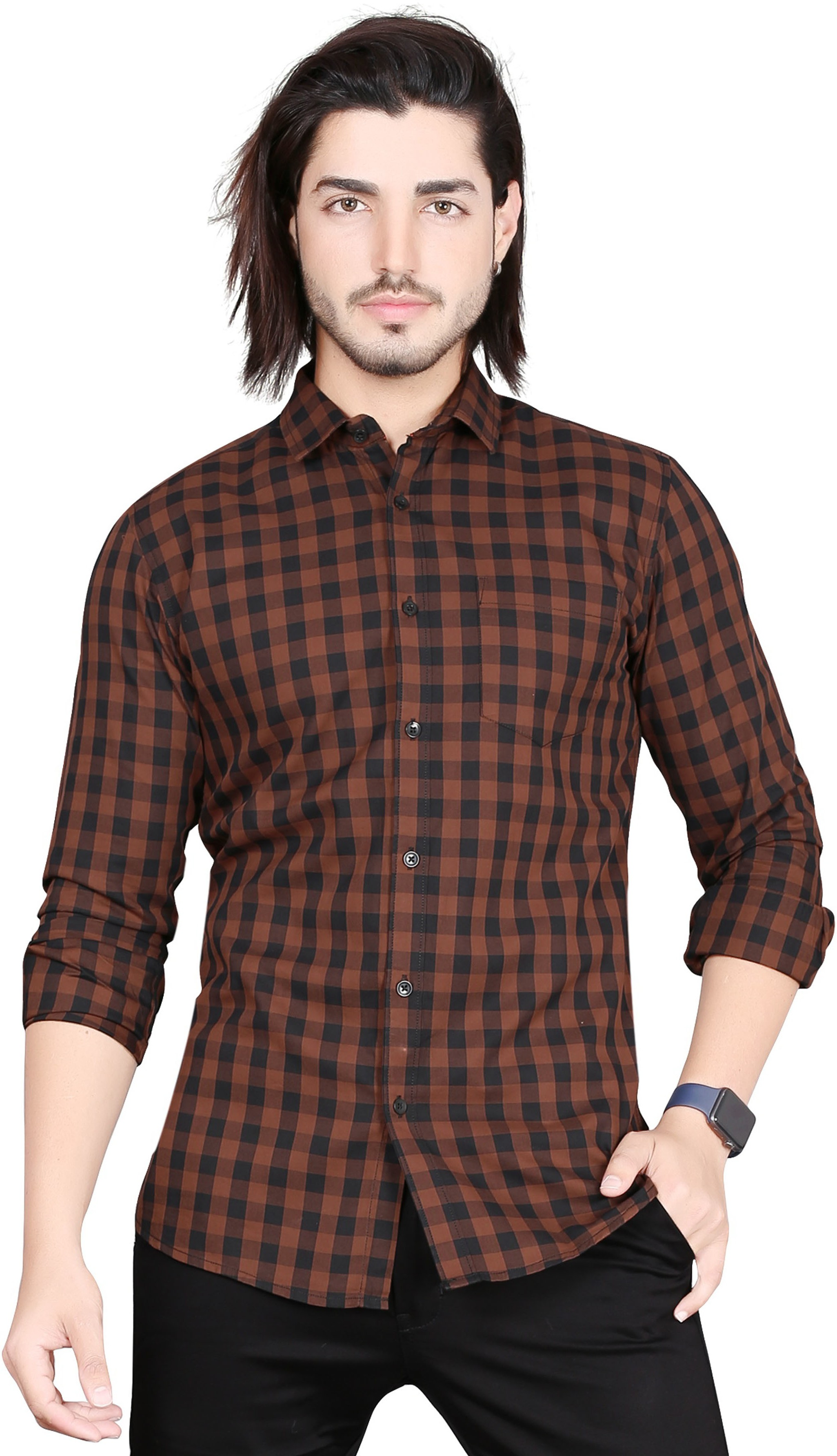 5th Anfold | 5TH ANFOLD Casual Tomtom Checkered Pure Cotton Full Sleev Spread Collar Shirt