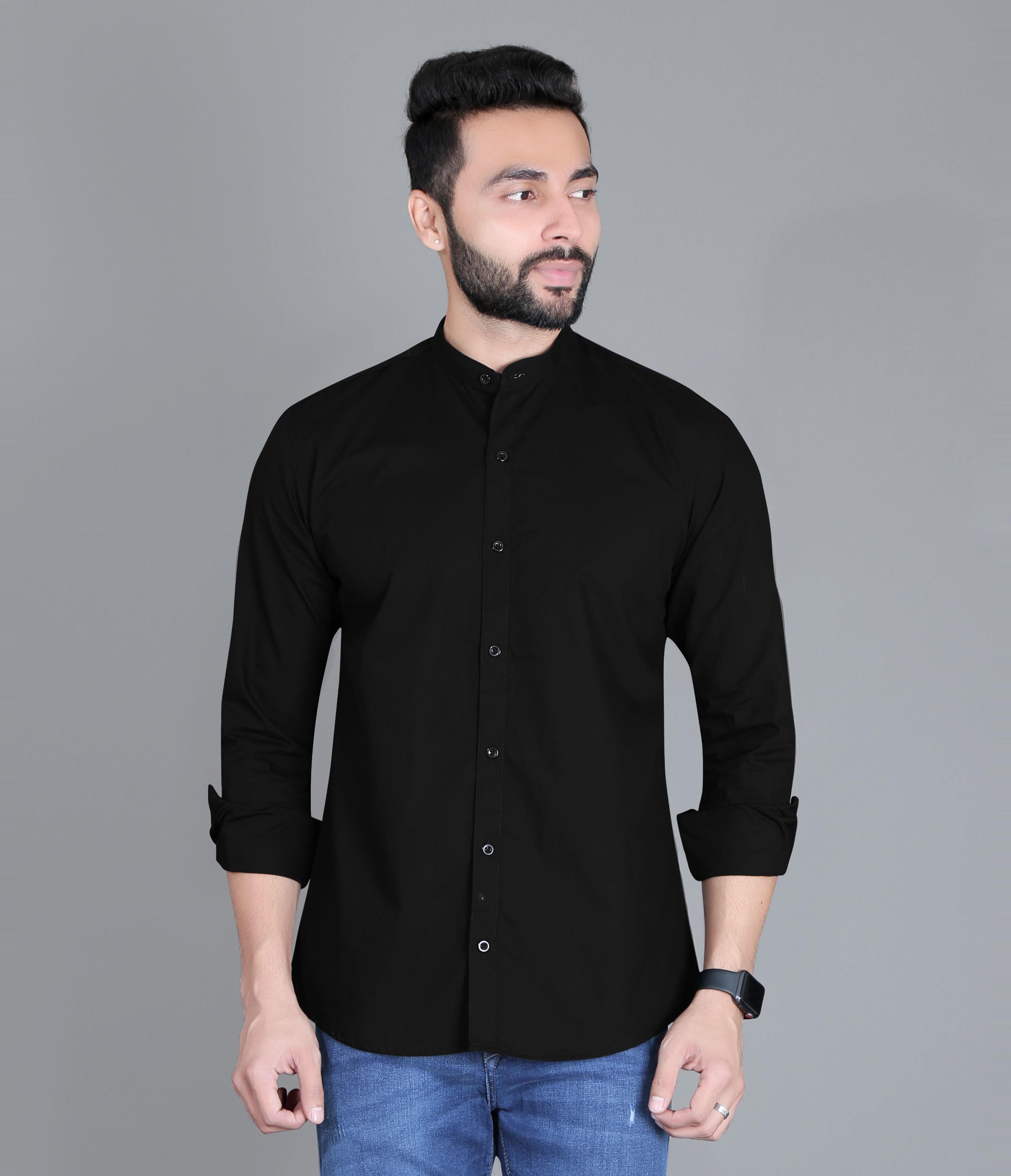 5th Anfold | FIFTH ANFOLD Casual Mandrin Collar full Sleev/Long Sleev Black Pure Cotton Plain Solid Men Shirt