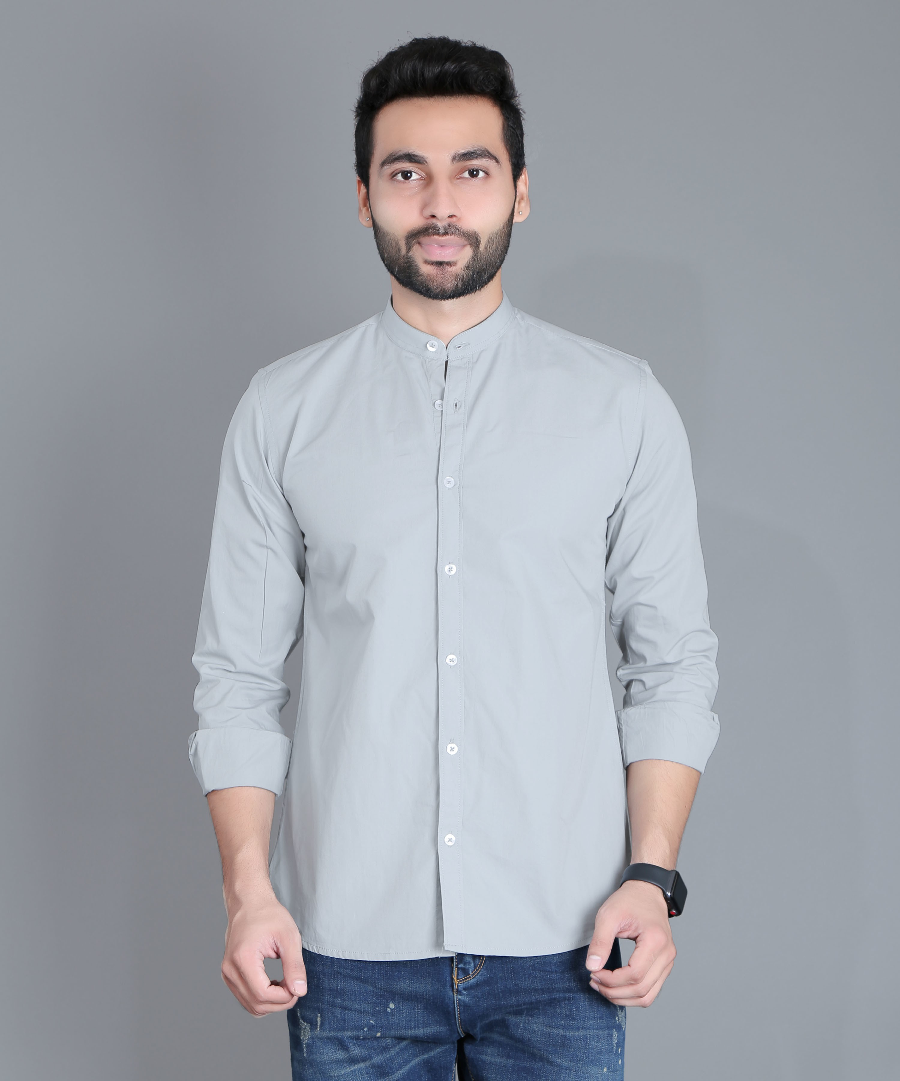 FIFTH ANFOLD Casual Mandrin Collar full Sleev/Long Sleev Cement Pure Cotton Plain Solid Men Shirt