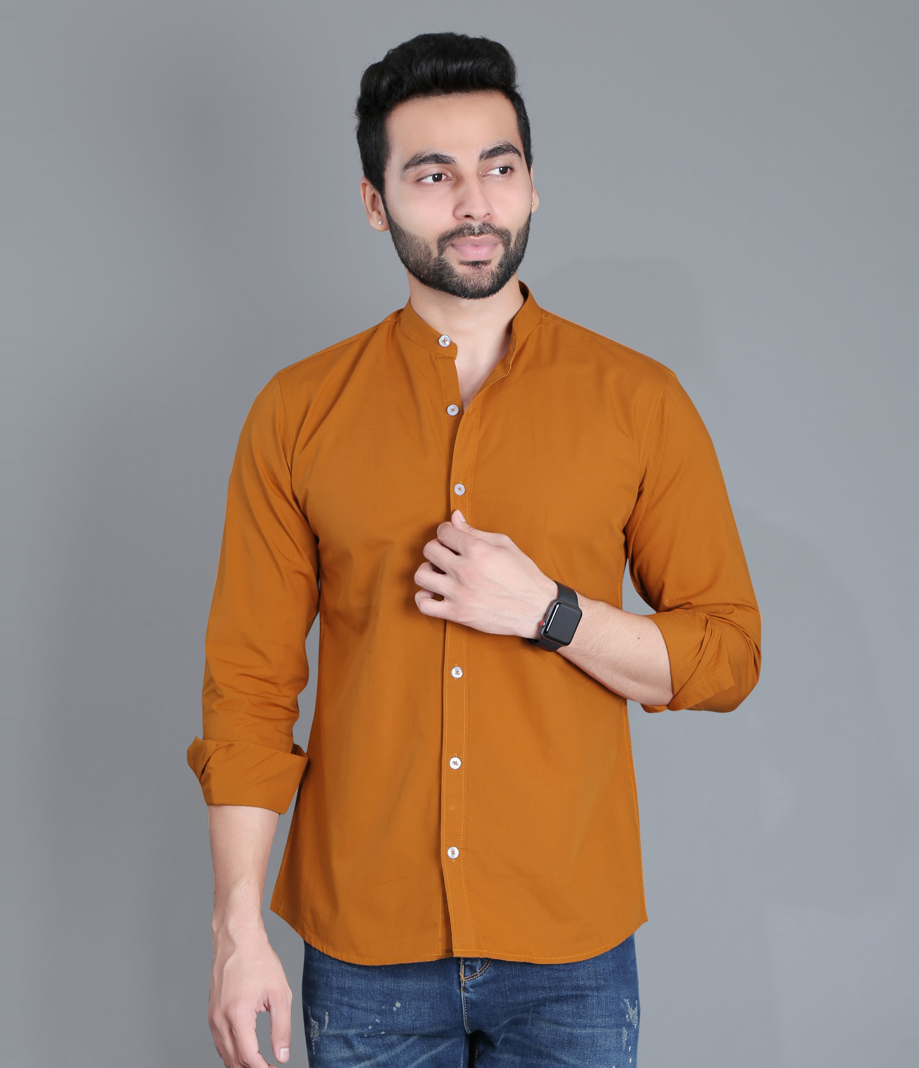 FIFTH ANFOLD Casual Mandrin Collar full Sleev/Long Sleev Copper Brown Pure Cotton Plain Solid Men Shirt