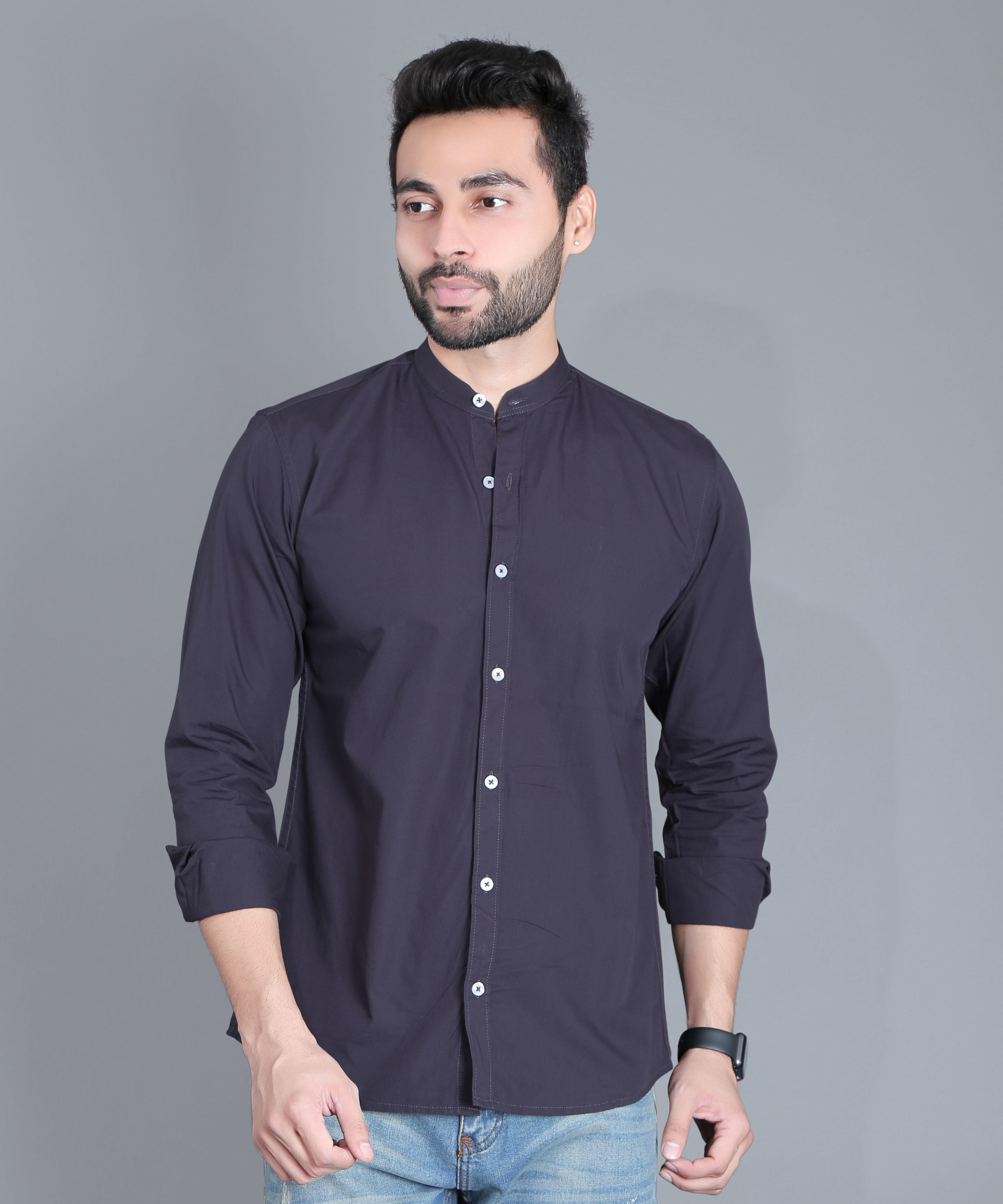 FIFTH ANFOLD Casual Mandrin Collar full Sleev/Long Sleev Dark Grey Pure Cotton Plain Solid Men Shirt
