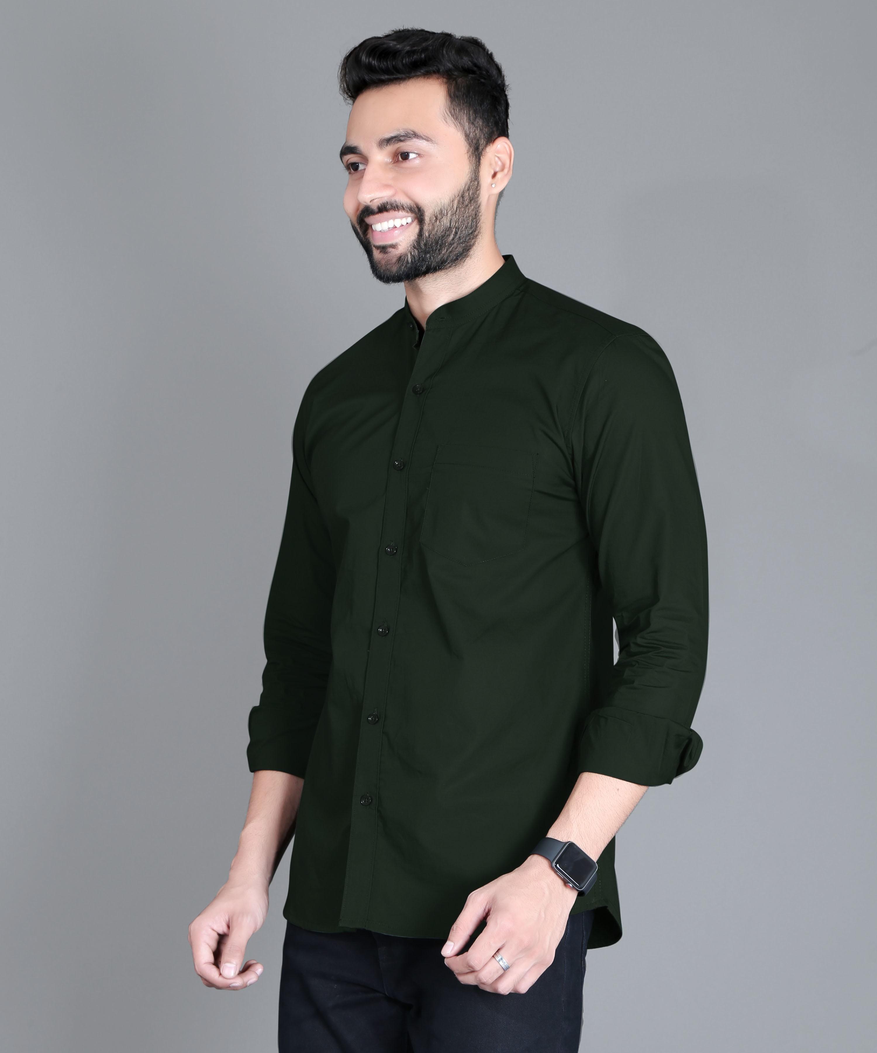 FIFTH ANFOLD Casual Mandrin Collar full Sleev/Long Sleev Bottle Green Pure Cotton Plain Solid Men Shirt