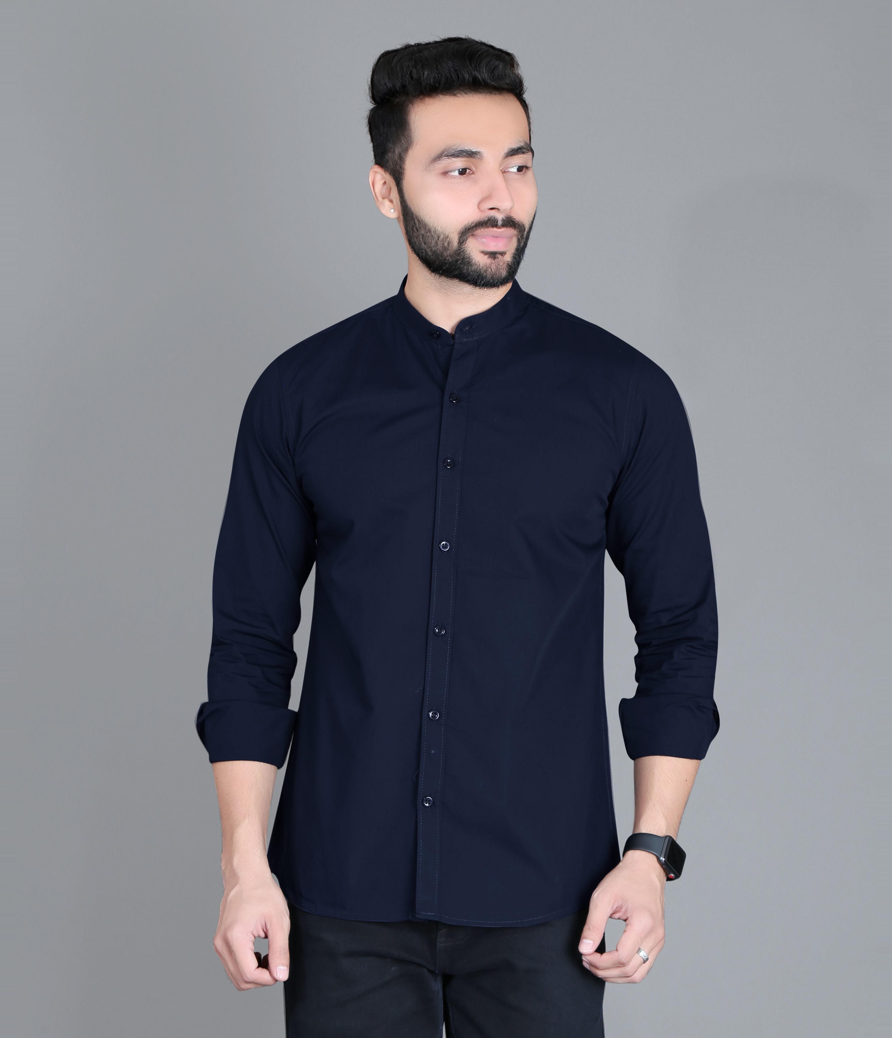 FIFTH ANFOLD Casual Mandrin Collar full Sleev/Long Sleev Light Navy Pure Cotton Plain Solid Men Shirt
