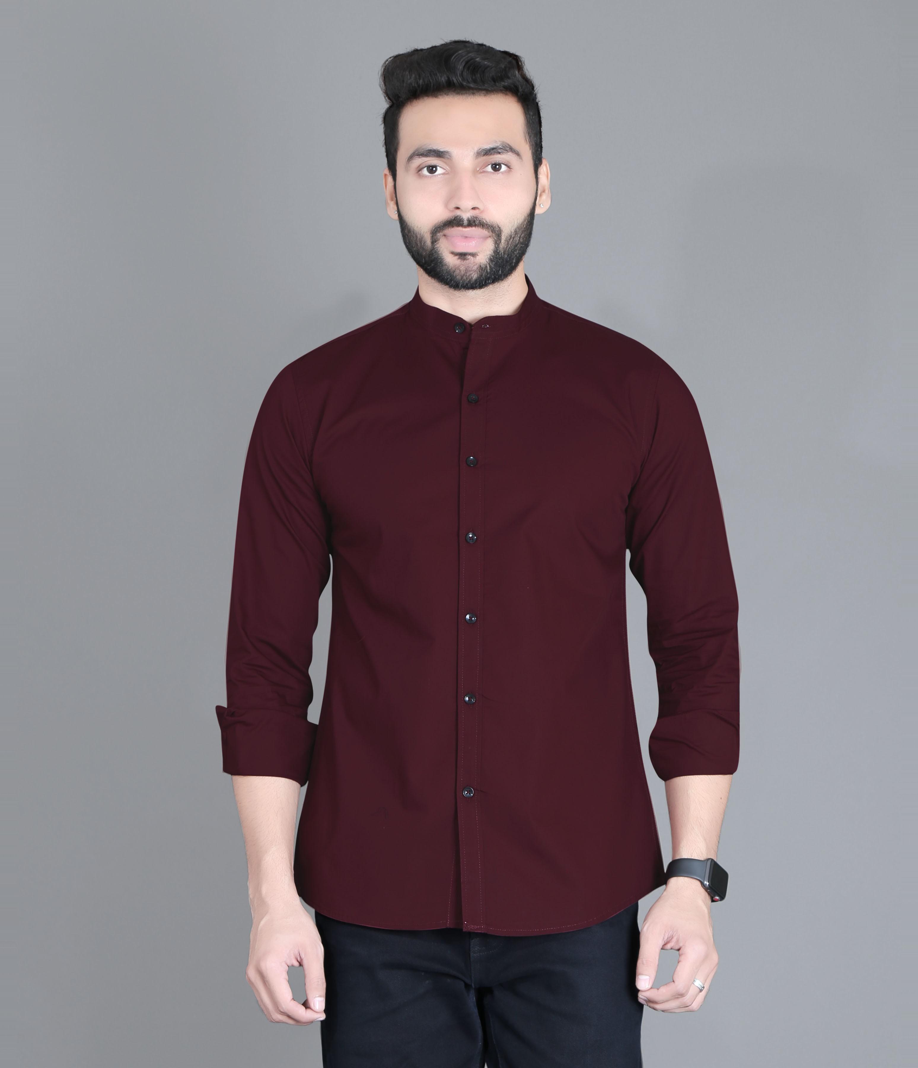 5th Anfold | FIFTH ANFOLD Casual Mandrin Collar full Sleev/Long Sleev Maroon Pure Cotton Plain Solid Men Shirt