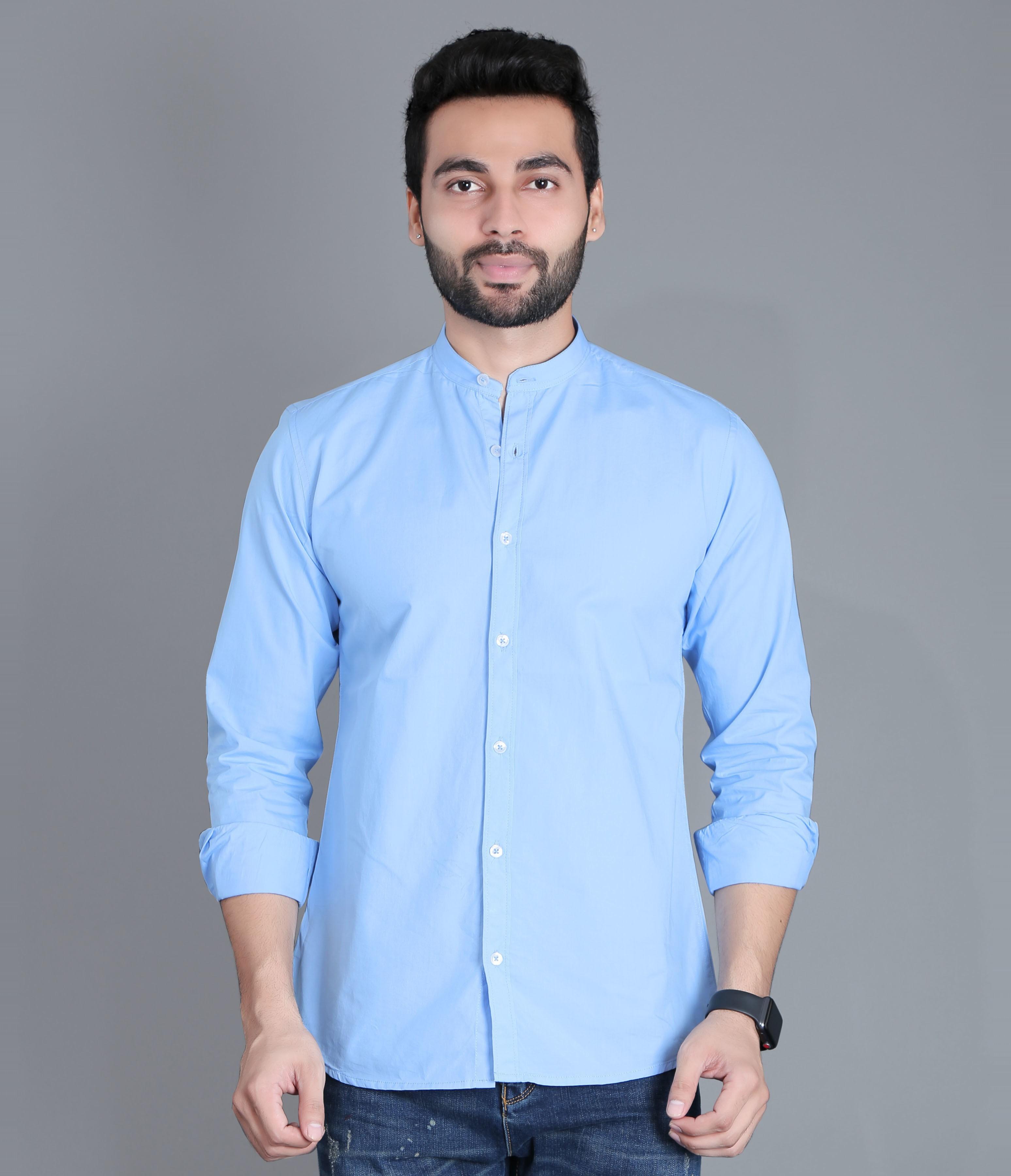 FIFTH ANFOLD Casual Mandrin Collar full Sleev/Long Sleev Sky Blue Pure Cotton Plain Solid Men Shirt