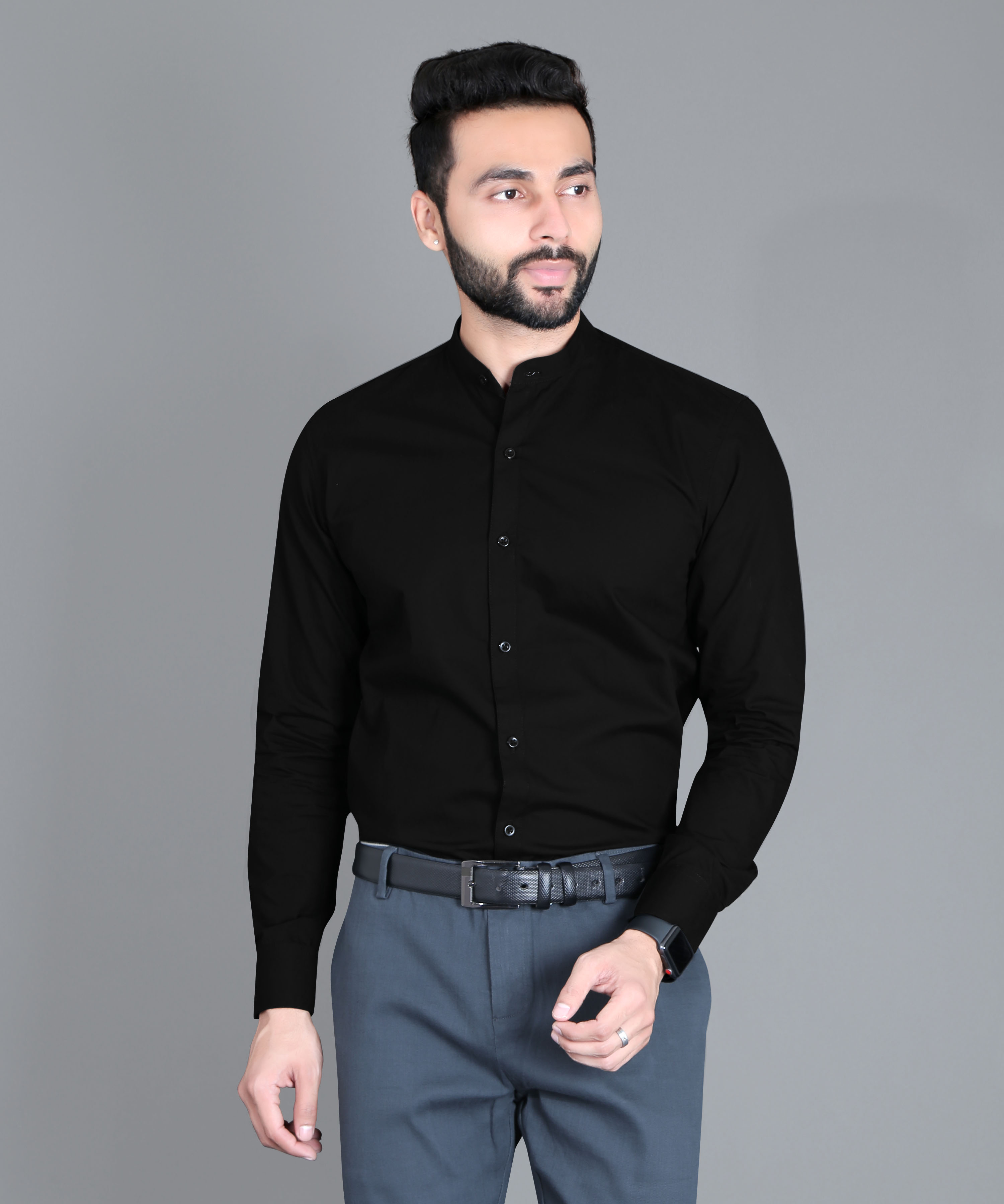FIFTH ANFOLD Formal Mandrin Collar full Sleev/Long Sleev Black Pure Cotton Plain Solid Men Shirt