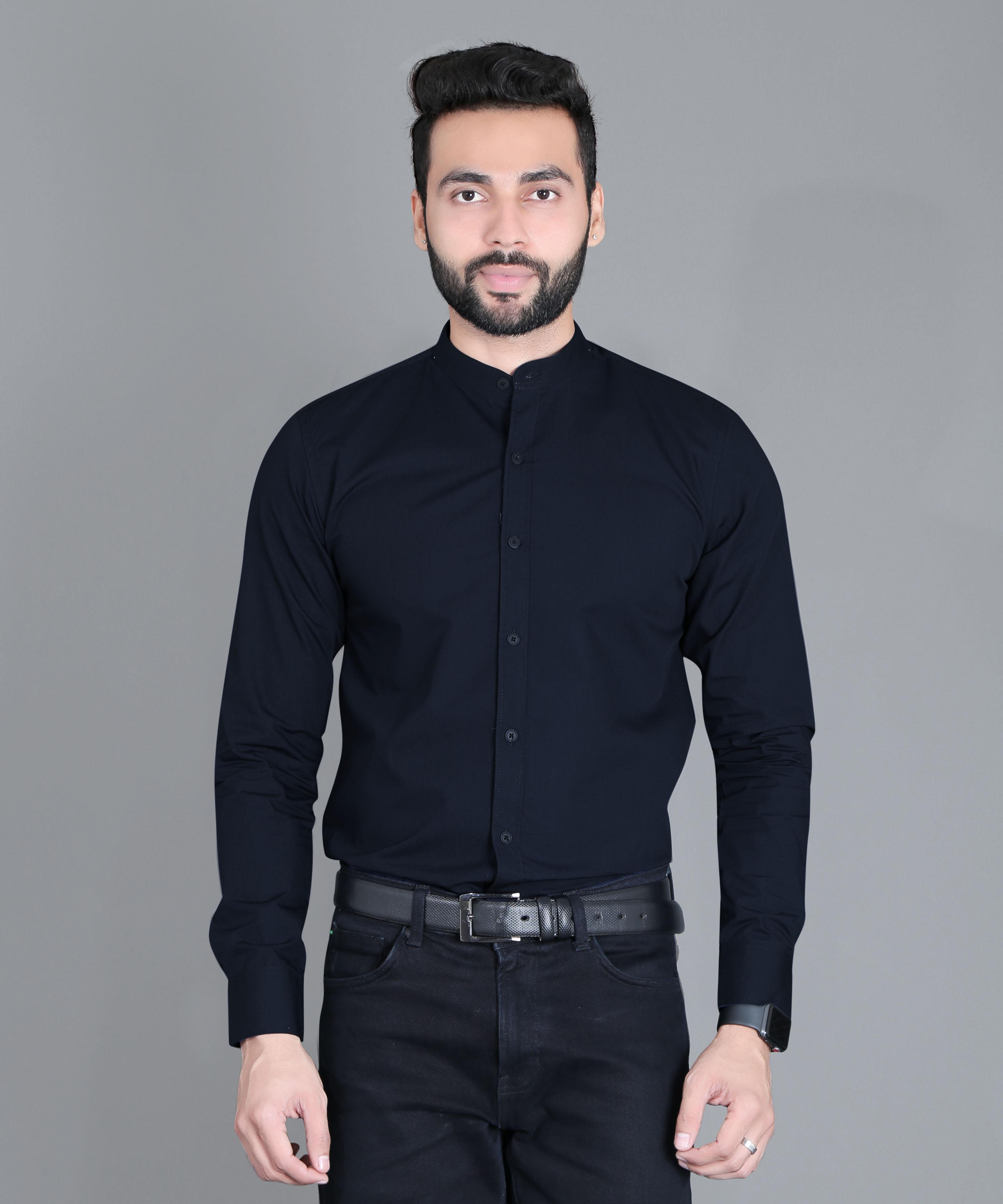 FIFTH ANFOLD Formal Mandrin Collar full Sleev/Long Sleev Navy Blue Pure Cotton Plain Solid Men Shirt