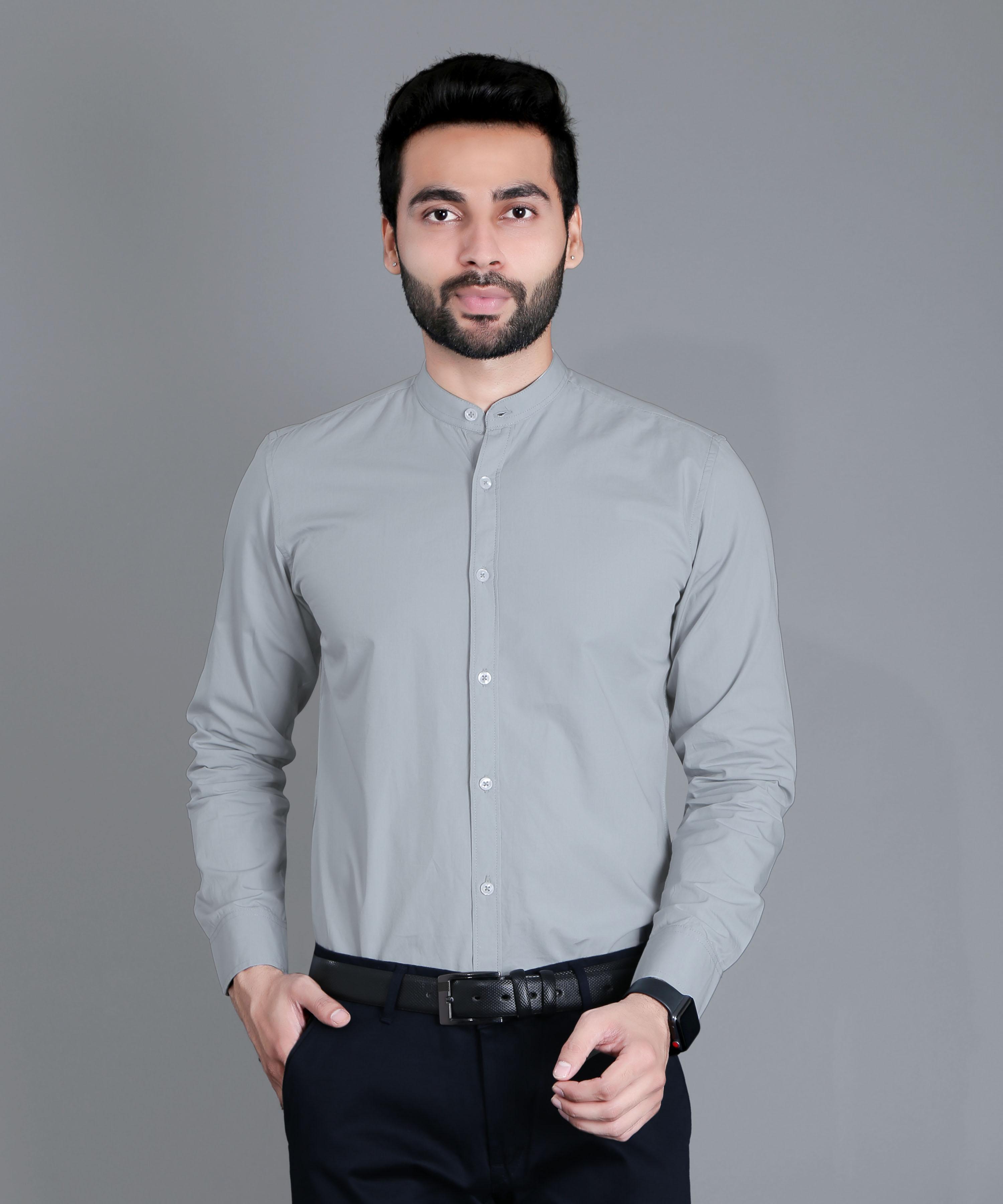 FIFTH ANFOLD Formal Mandrin Collar full Sleev/Long Sleev Cement Grey Pure Cotton Plain Solid Men Shirt