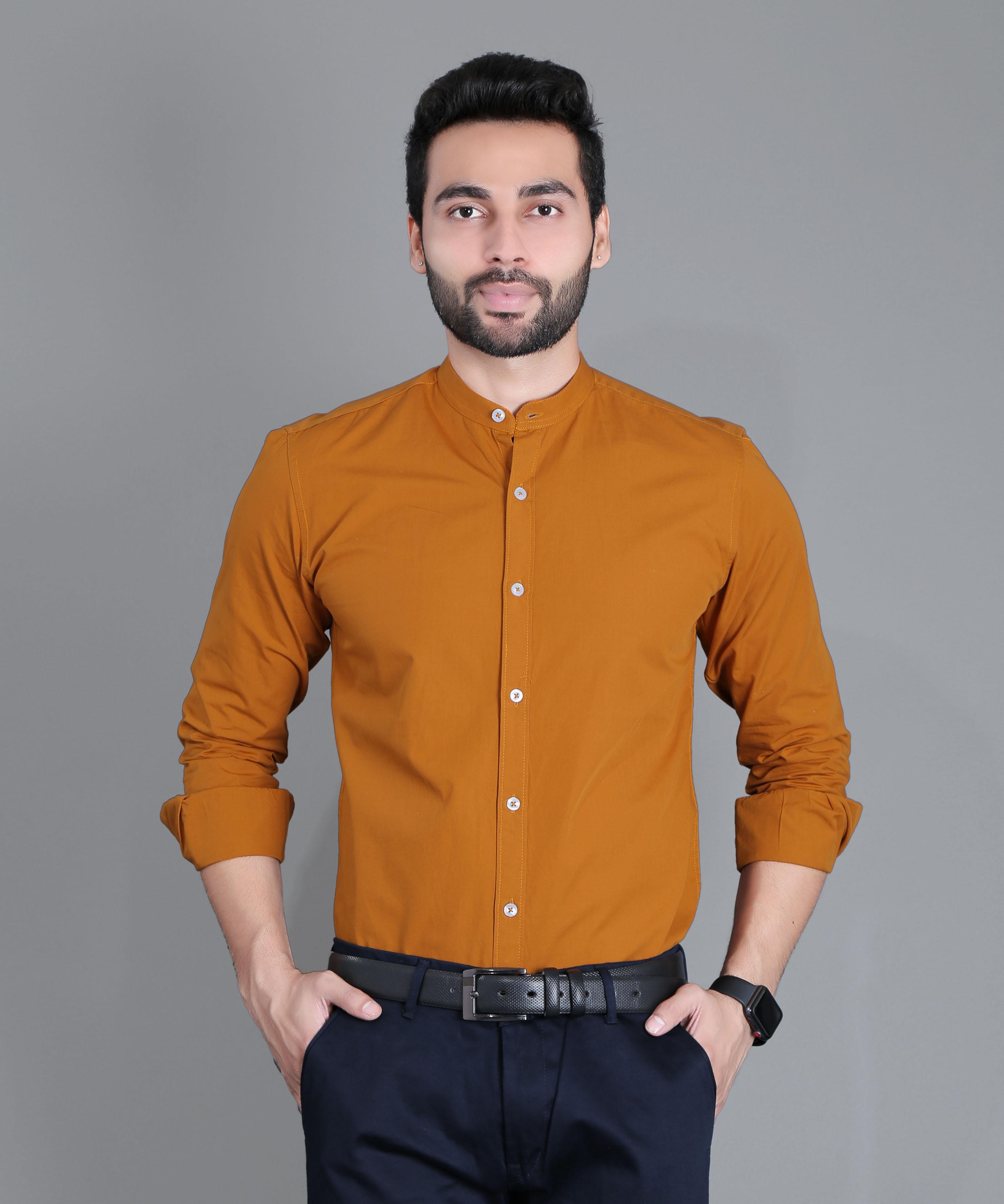 FIFTH ANFOLD Formal Mandrin Collar full Sleev/Long Sleev Copper Brown Pure Cotton Plain Solid Men Shirt