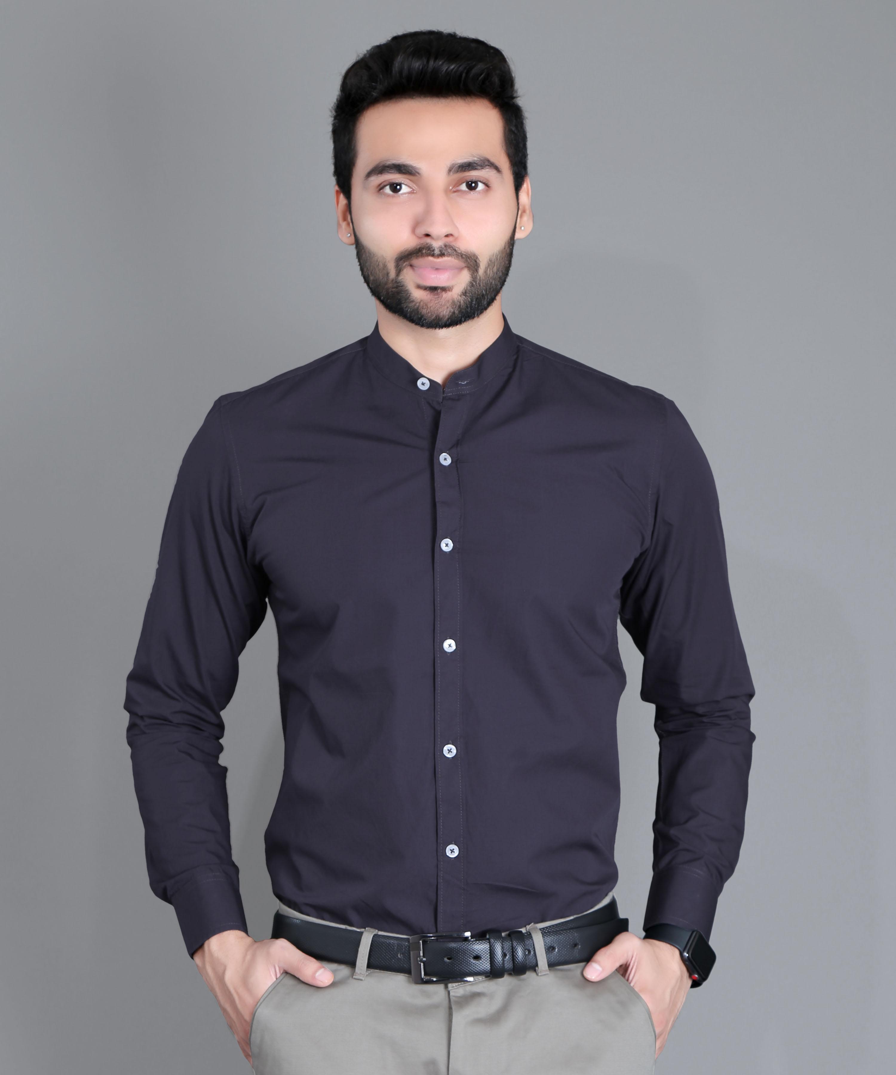FIFTH ANFOLD Formal Mandrin Collar full Sleev/Long Sleev Dark Grey Pure Cotton Plain Solid Men Shirt