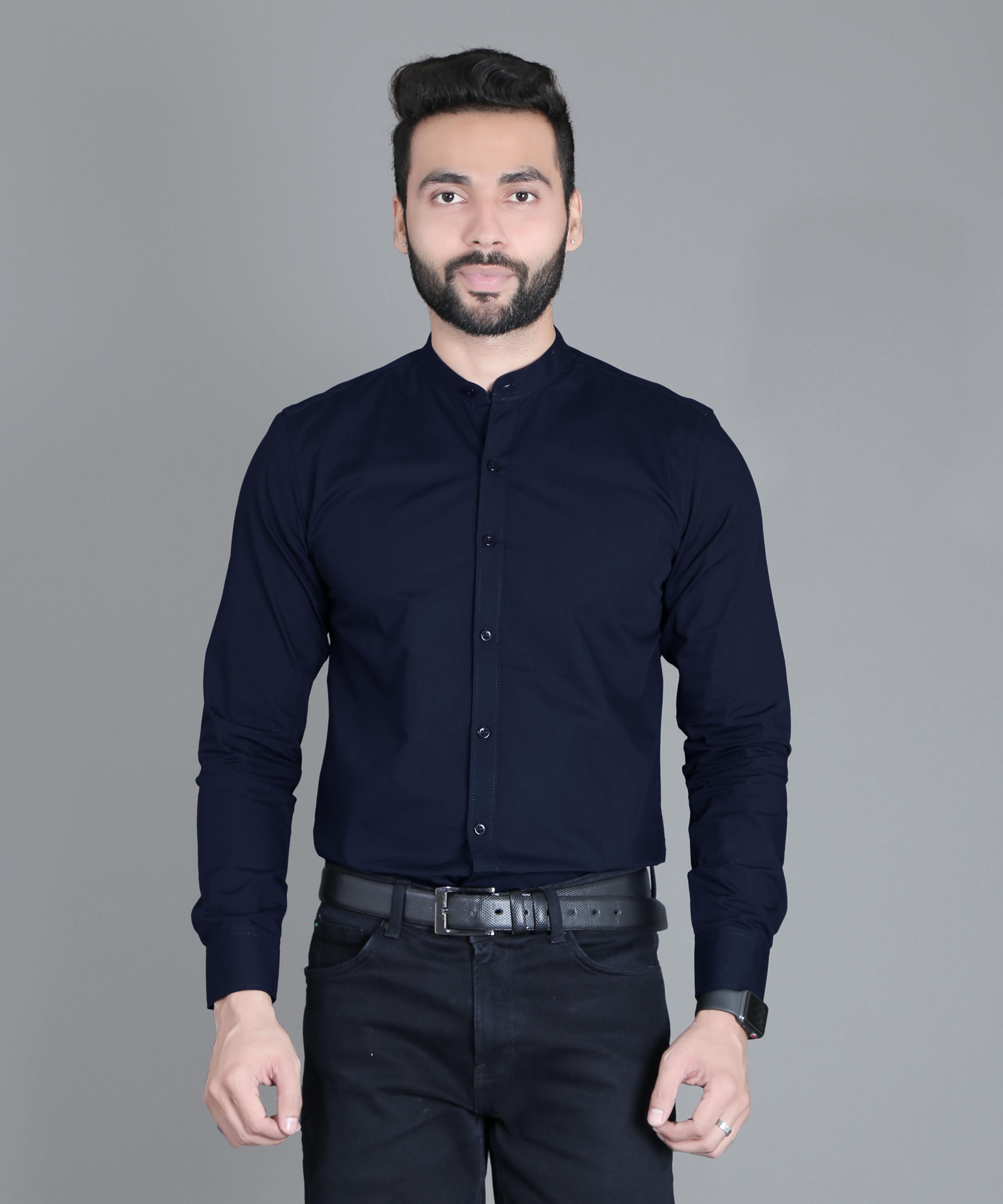 FIFTH ANFOLD Formal Mandrin Collar full Sleev/Long Sleev Light Navy Pure Cotton Plain Solid Men Shirt