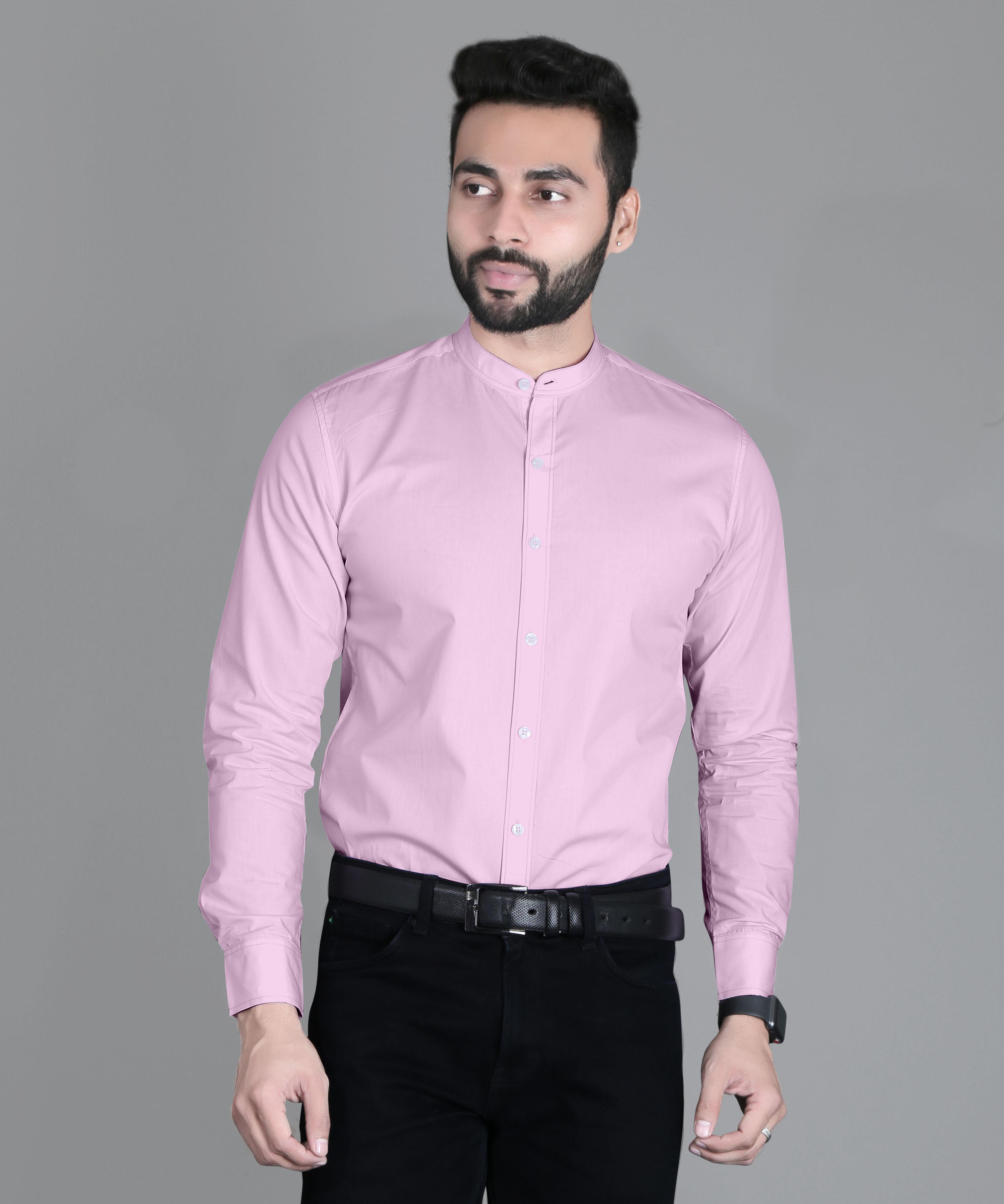 5th Anfold | FIFTH ANFOLD Formal Mandrin Collar full Sleev/Long Sleev Pink Pure Cotton Plain Solid Men Shirt
