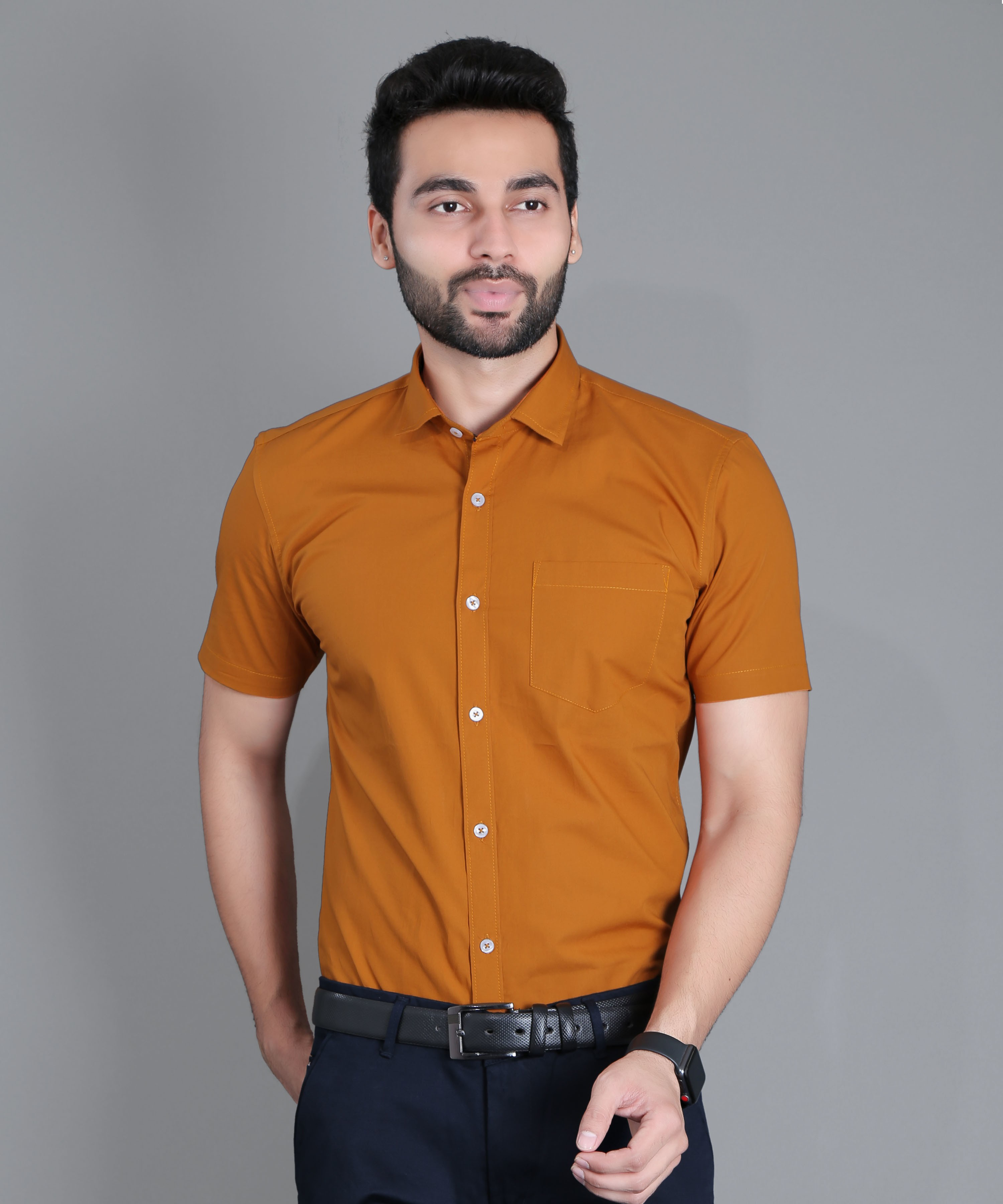 5th Anfold   Fifth Anfold Formal Half Sleev/Short Sleev Copper Brown Pure Cotton Plain Solid Partywear Men Shirt