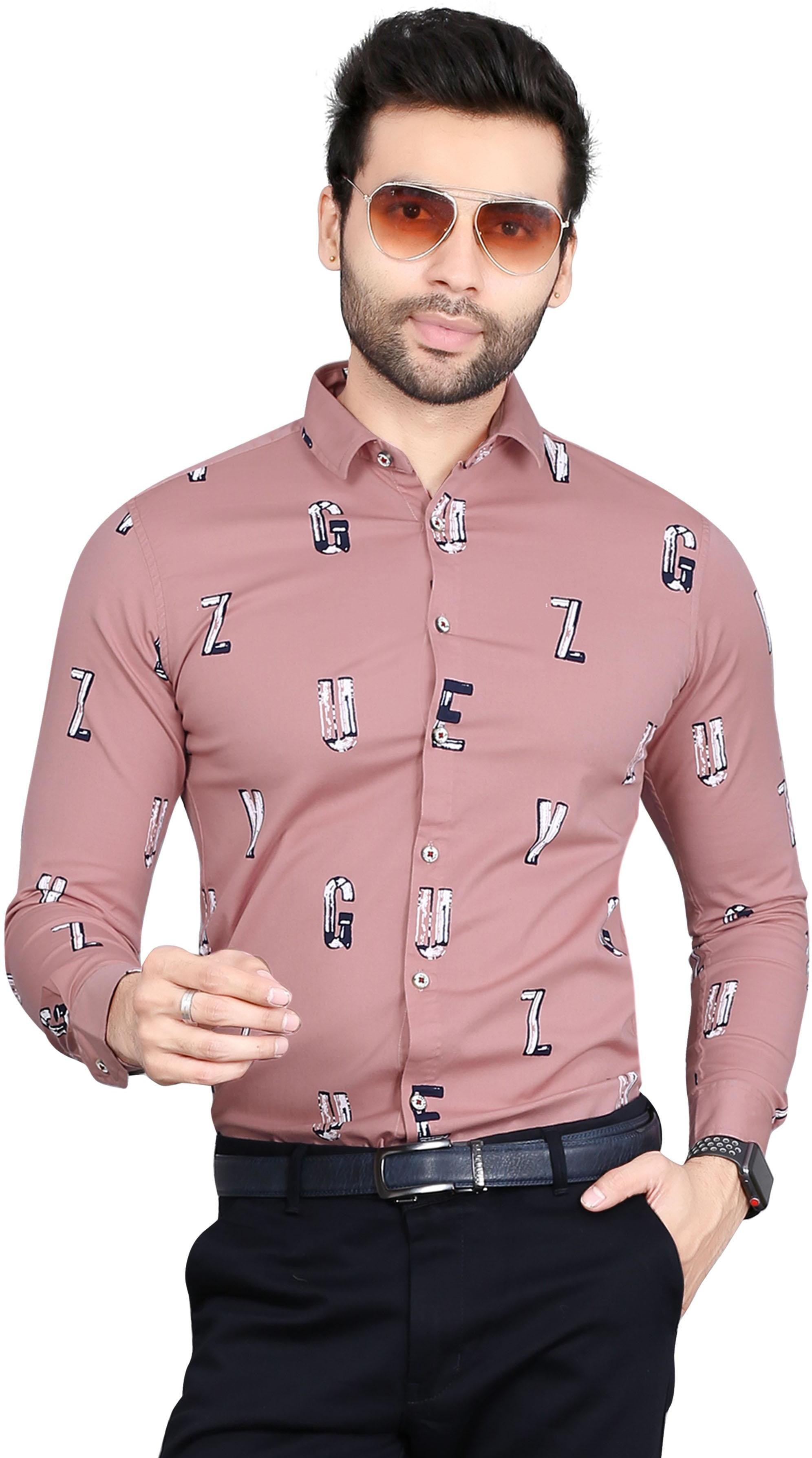 Alphabatical Printed Formal Full Sleev Pure Cotton Shirt By 5th Anfold