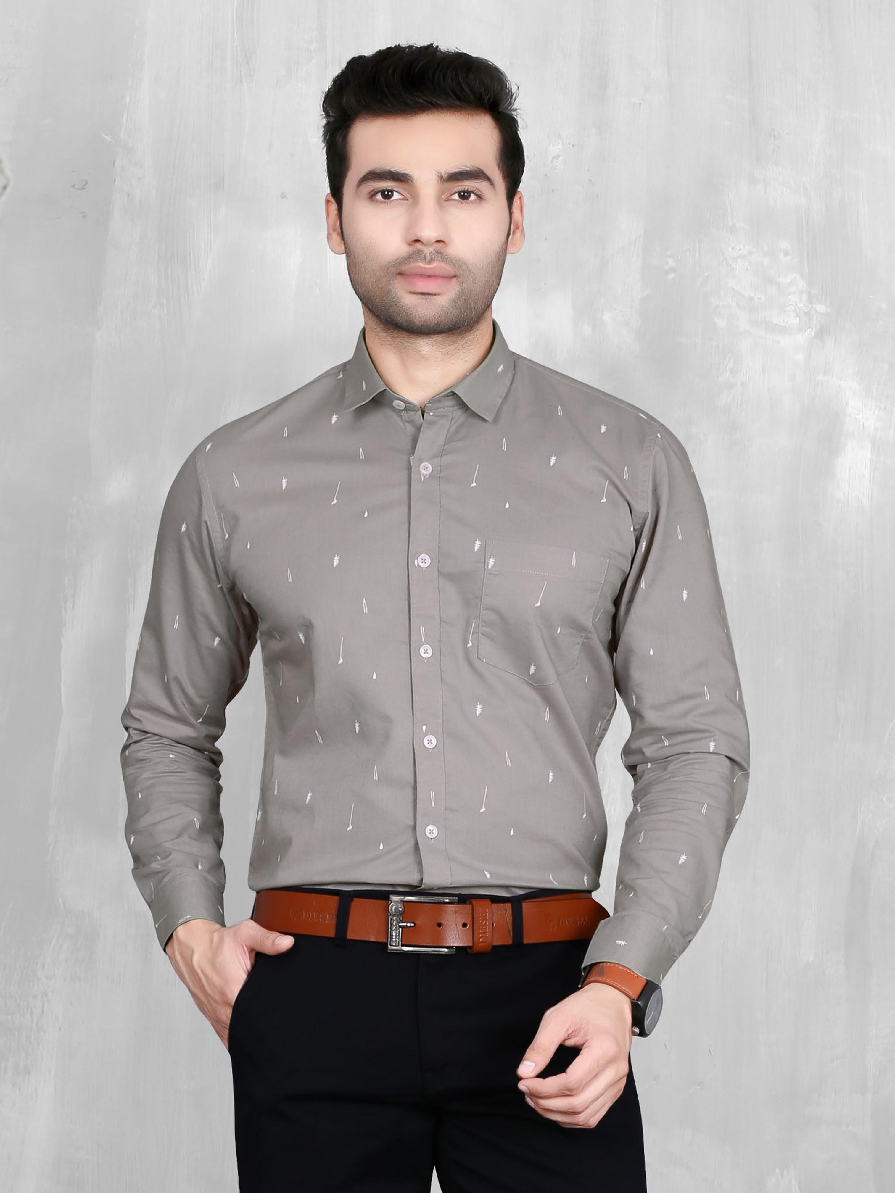 5th Anfold | 5th Anfold Mens Grey Formal Printed Cotton Shirt
