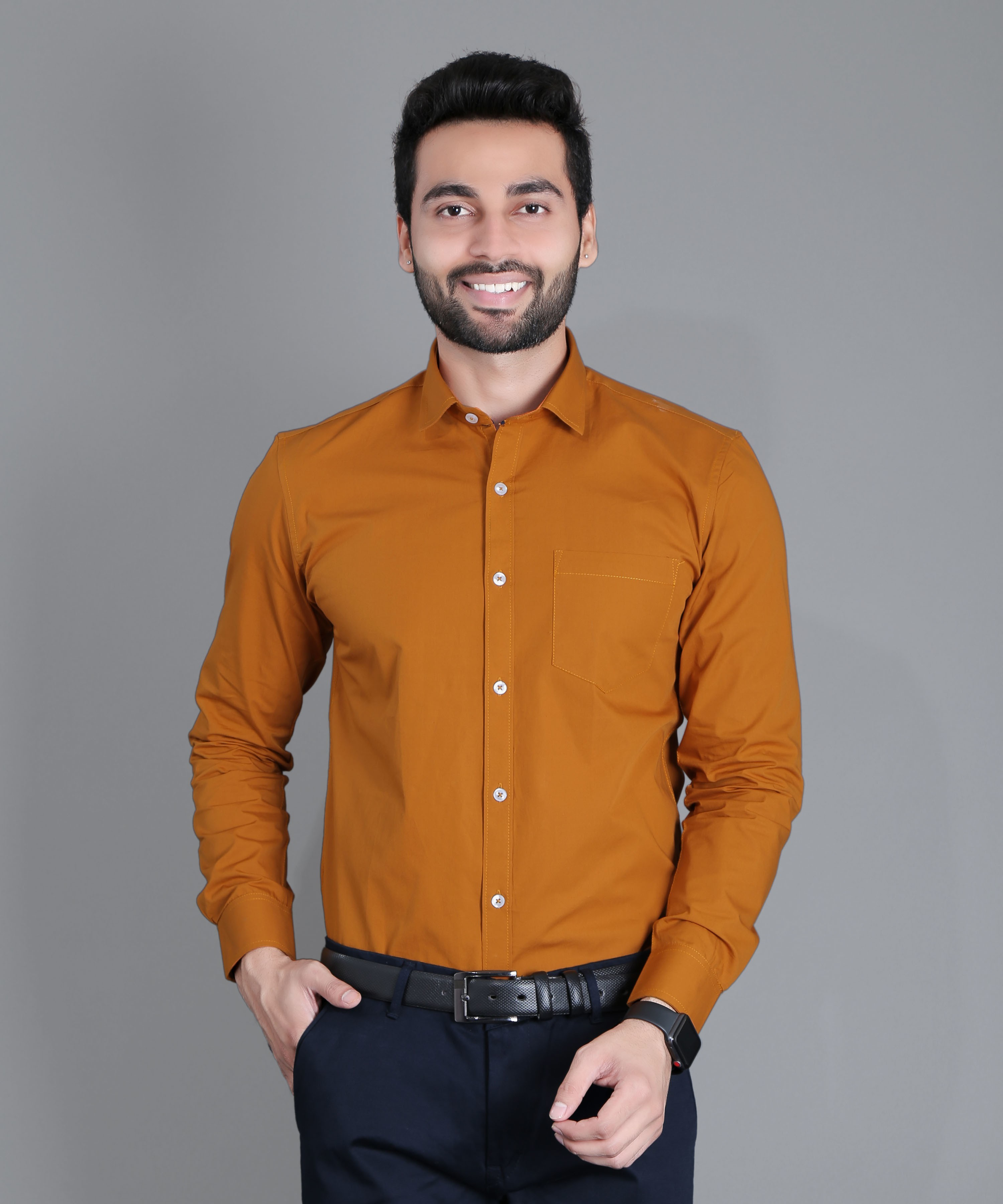 FIFTH ANFOLD Solid Pure Cotton Formal Full Long Sleev Copper Brown Spread Collar Mens Shirt