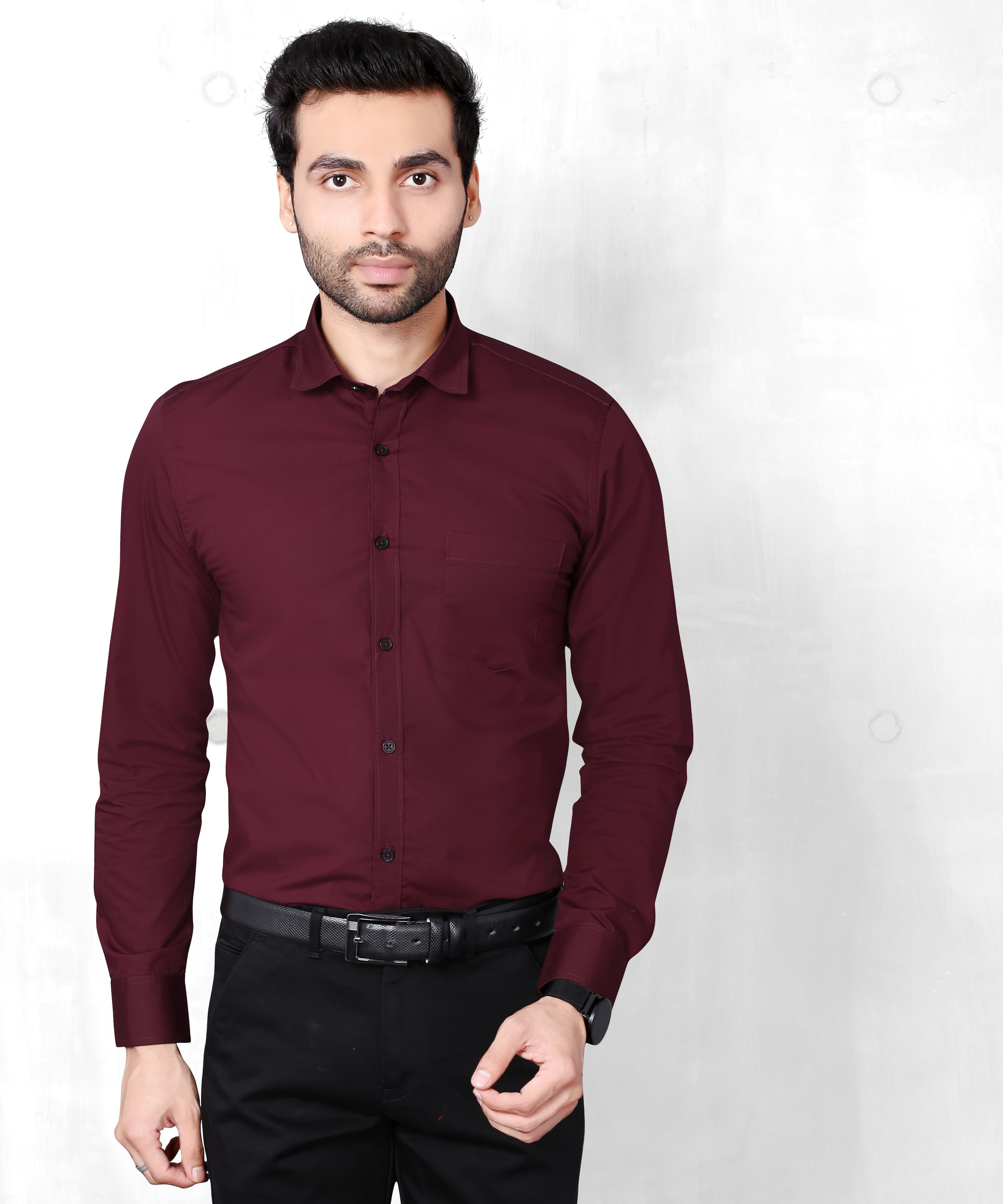 FIFTH ANFOLD Solid Pure Cotton Formal Full Long Sleev Maroon Spread Collar Mens Shirt