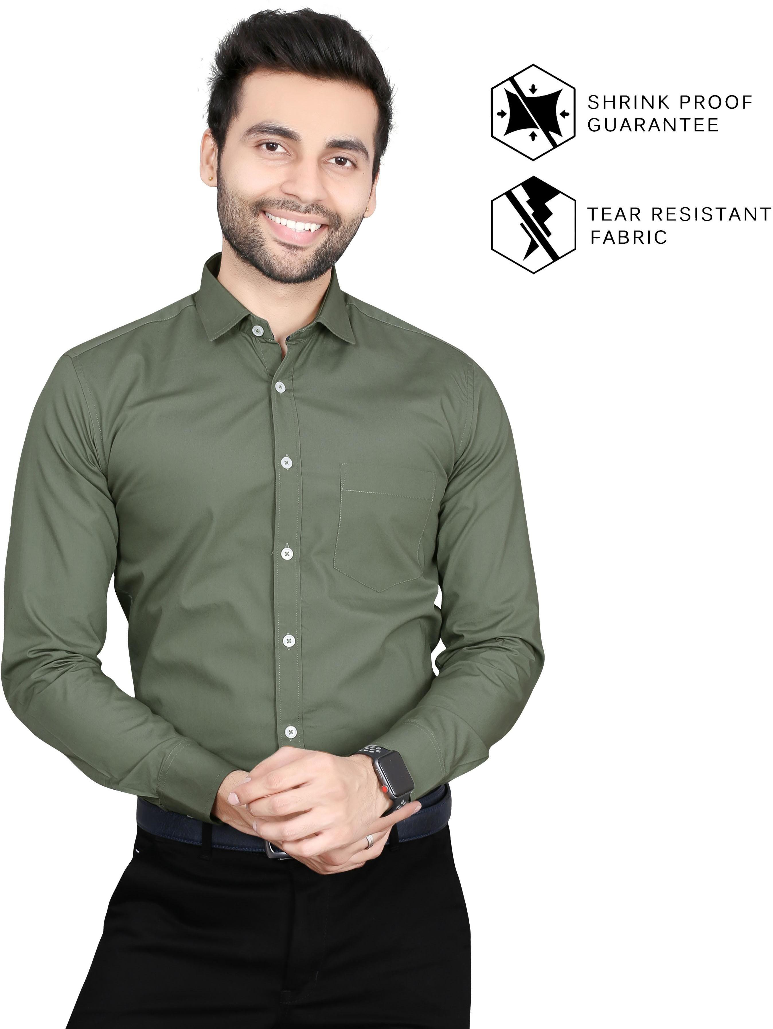 5TH ANFOLD Solid Pure Cotton Formal Full Long Sleev Rusty Green Spread Collar Mens Shirt