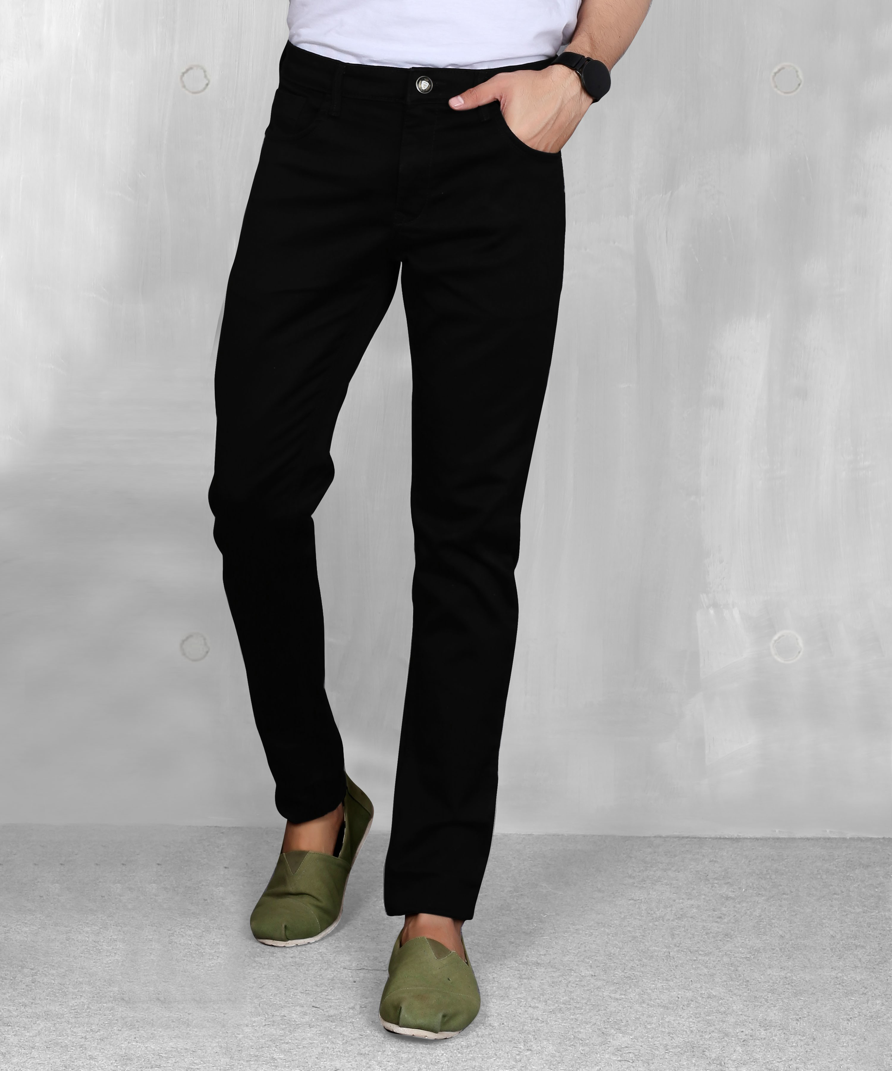 5th Anfold | FIFTH ANFOLD Mens Black Clean Slim Narrow fit Mid Rise Jeans